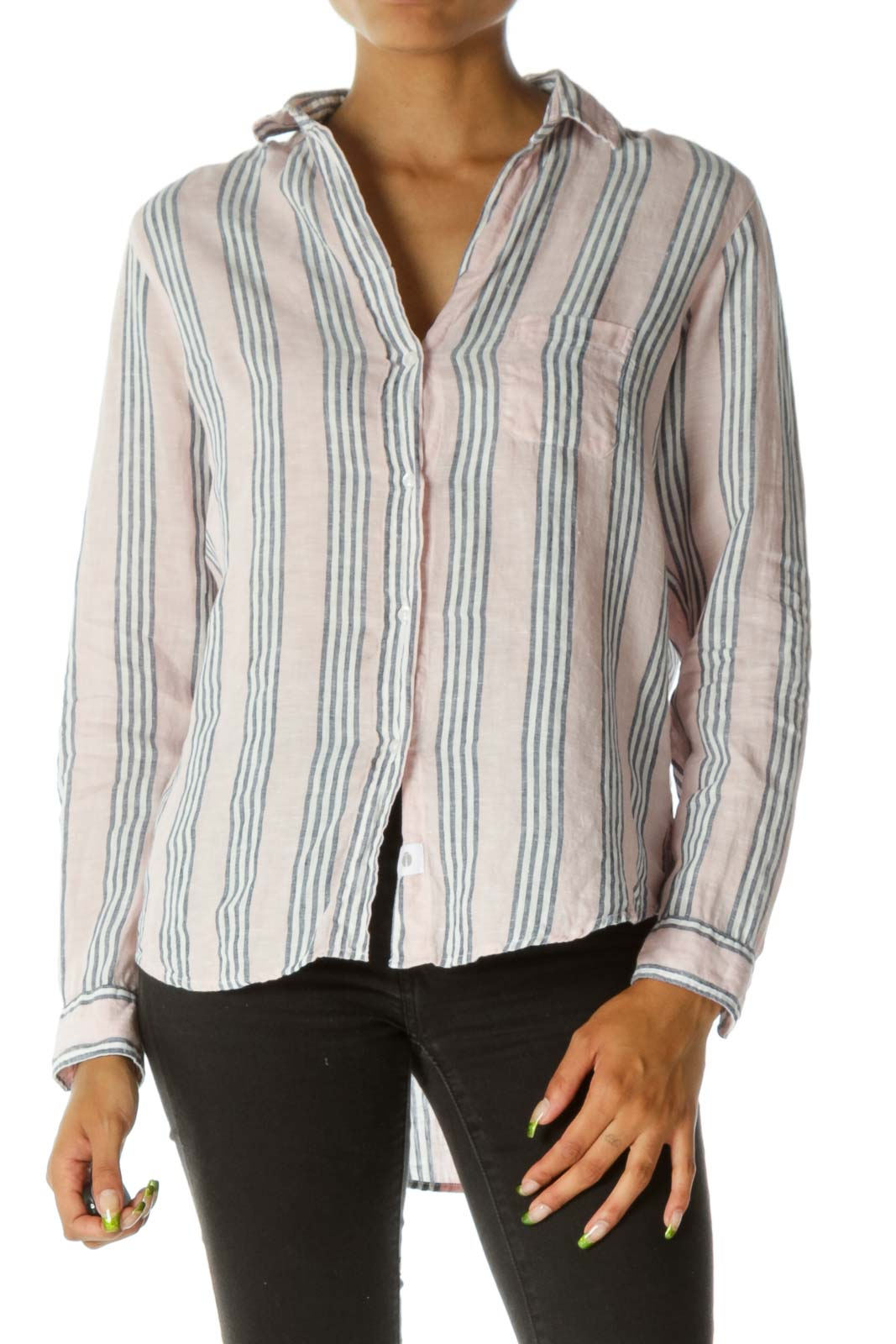Pink Linen Striped Blouse  Front