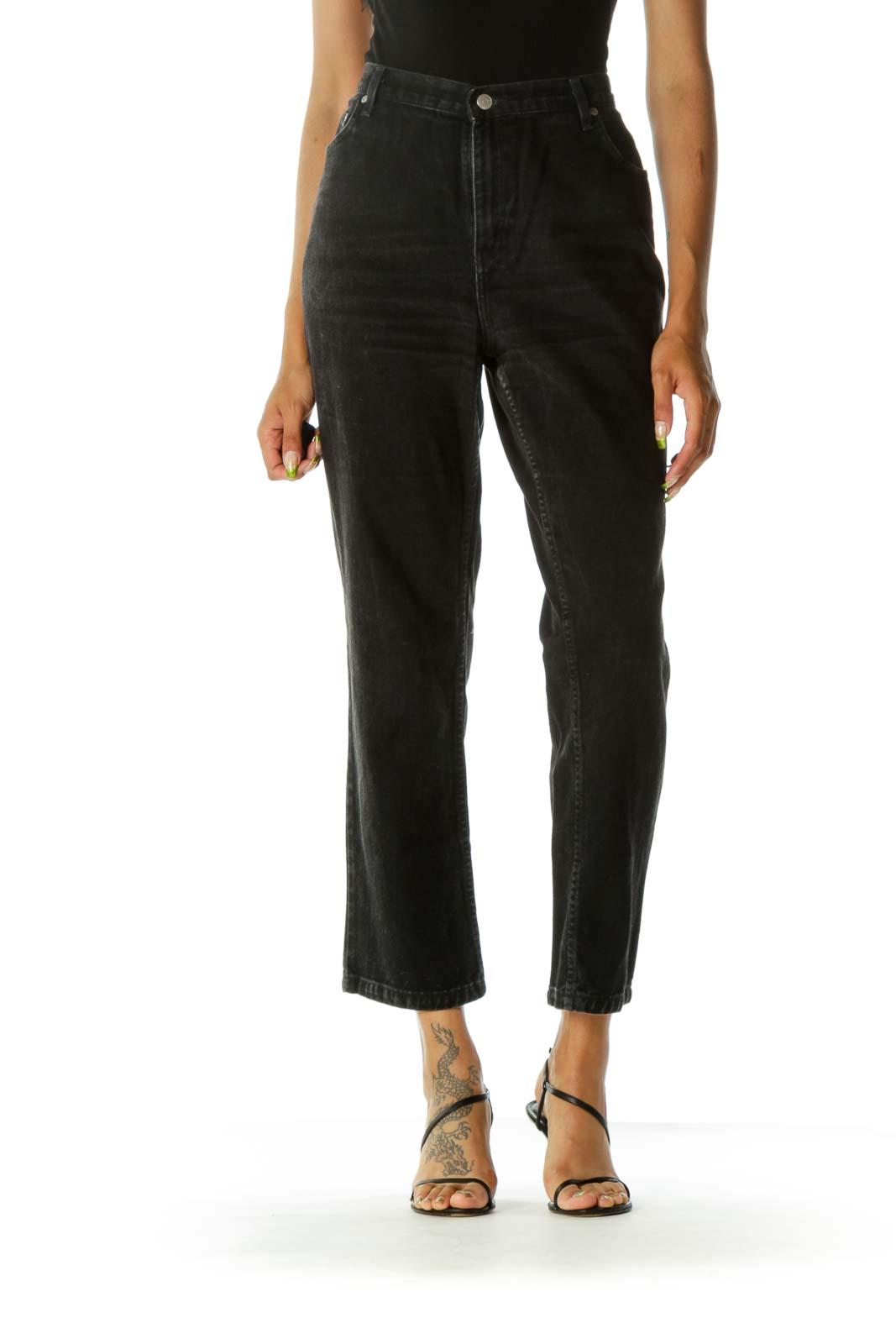 Black Washed 100% Cotton Tapered Denim Jeans Front