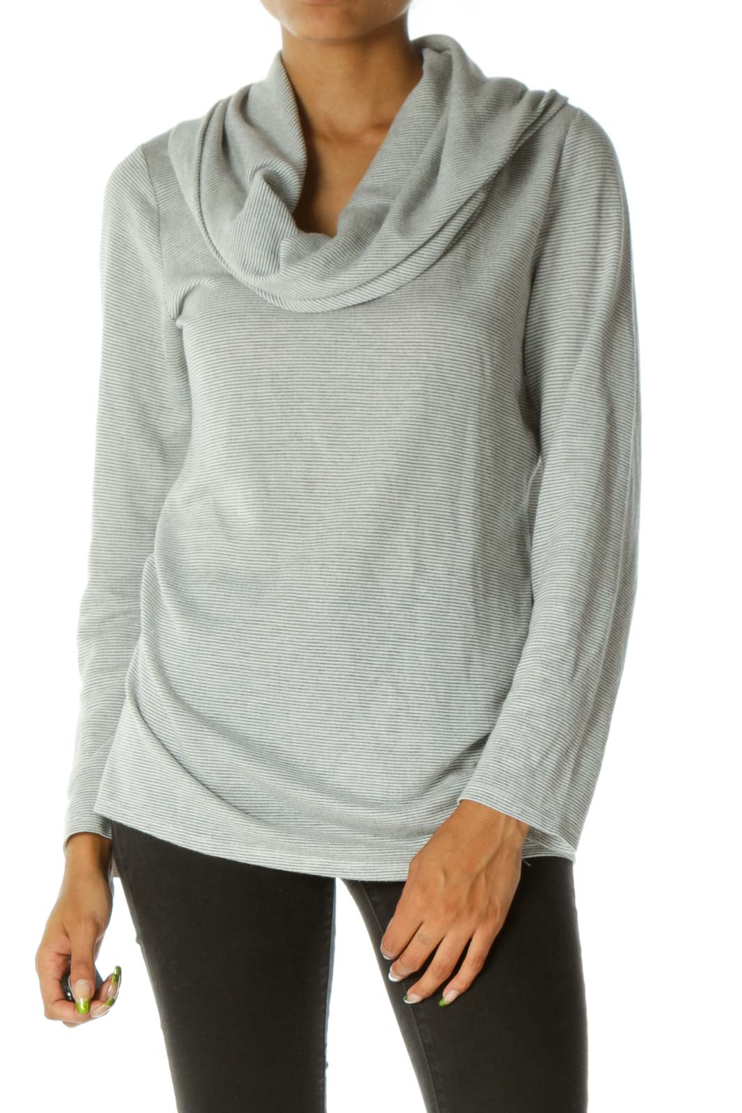 Gray White Cowl Neck Striped Long Sleeve Knit Top Front