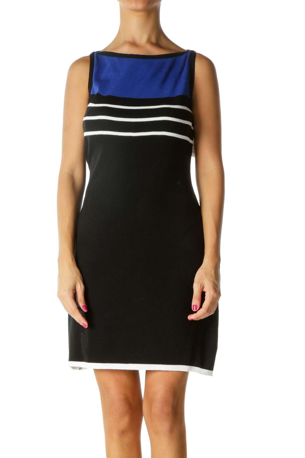 Blue Black White Boat Neck Striped Knit Dress Front