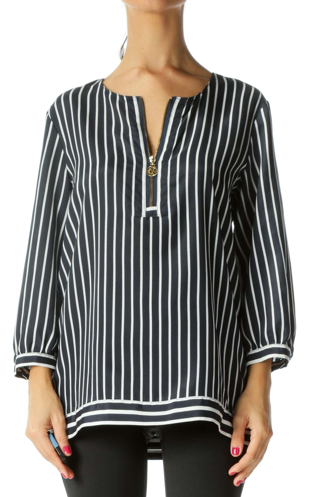 Navy Visible Front Zip Striped Blouse Front