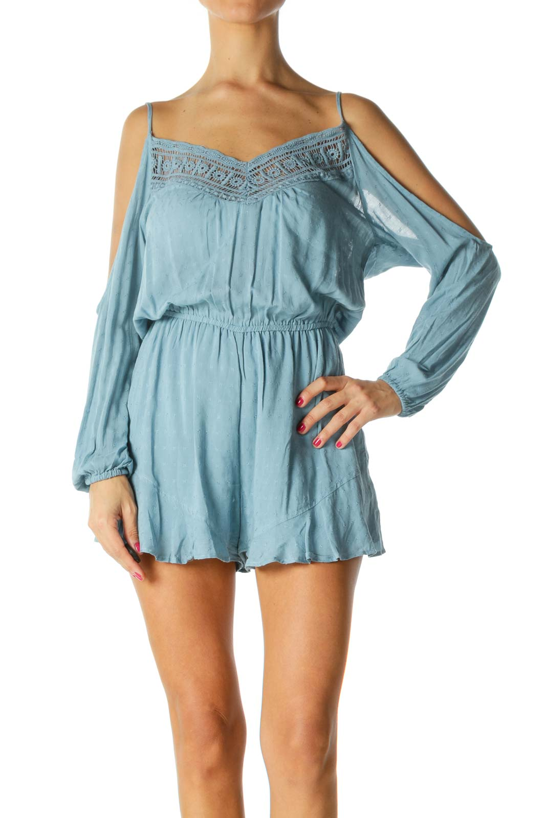 Blue V-Neck Crocheted Cold-Shoulder Knit Romper Front