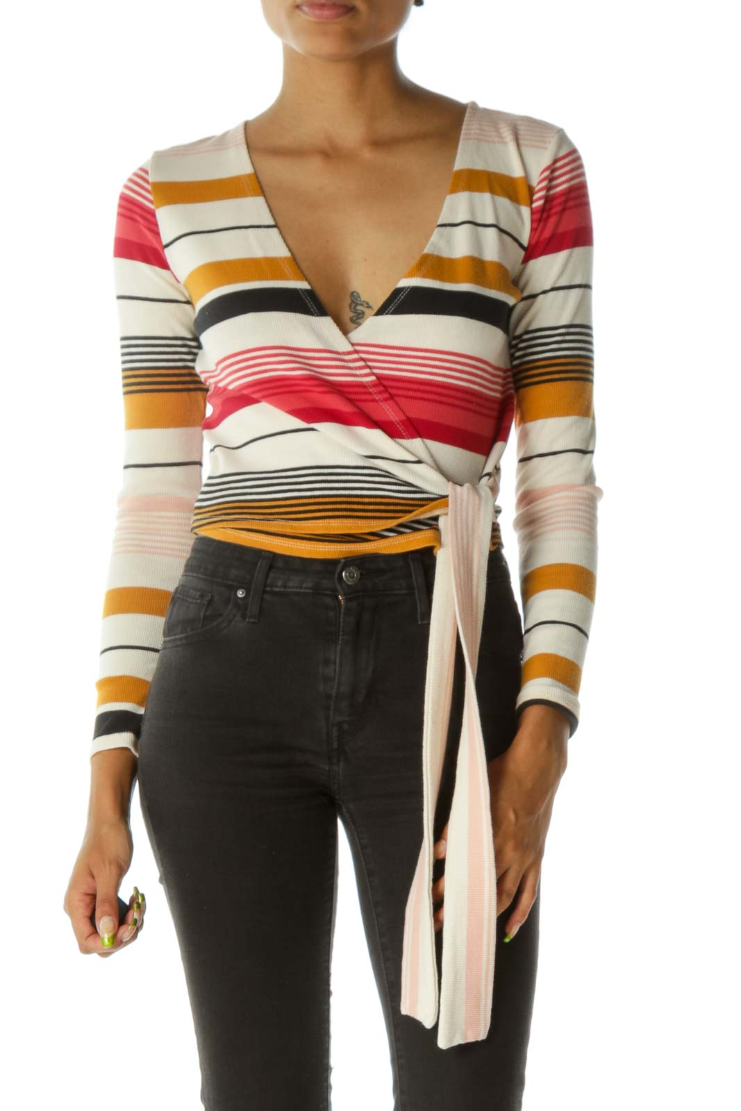 Cream Black Red Yellow Wrap Long Sleeve Knit Top Front