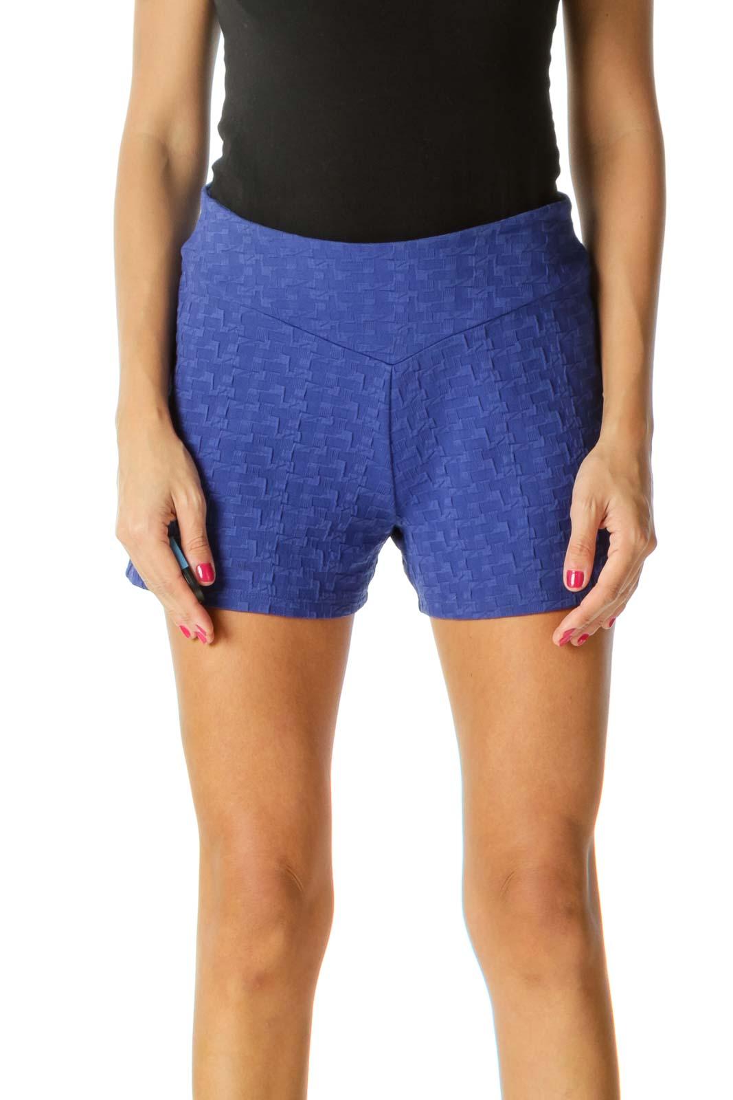 Royal Blue Stretch Jacquard High-Waist Shorts Front