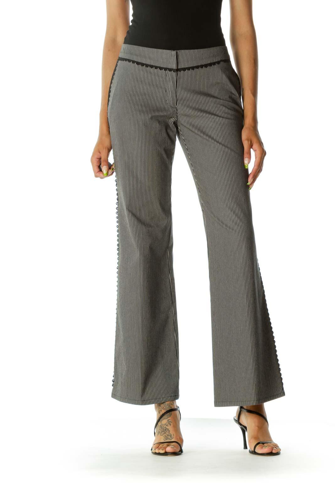 Black Blue Cream Striped Crochet Trim Applique Wide-Leg Pants Front