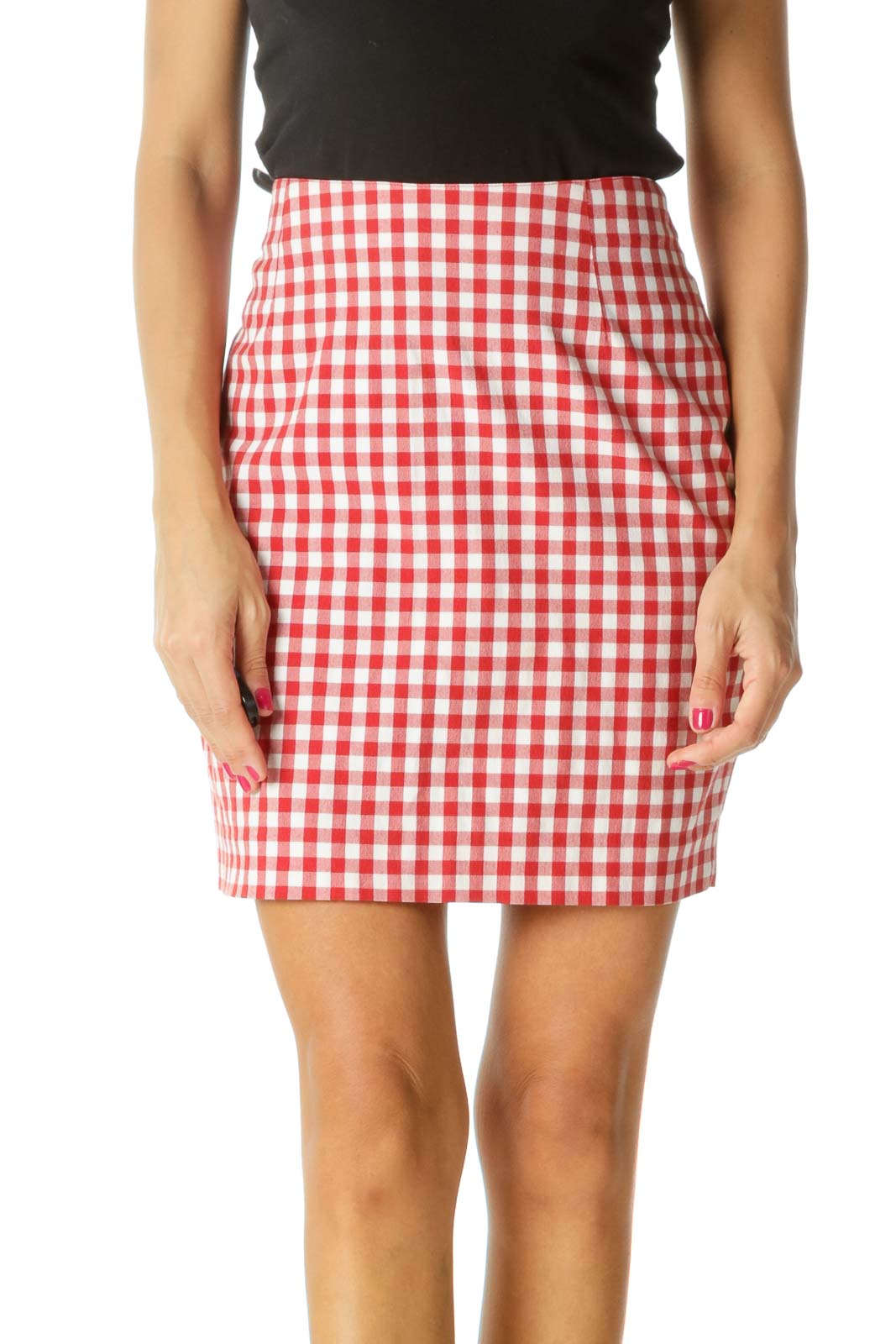 Red White Gingham Cinched Waist Textured Skirt Front