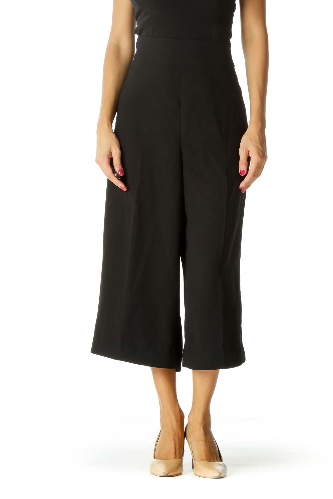 Black High Rise Cropped Culottes Front