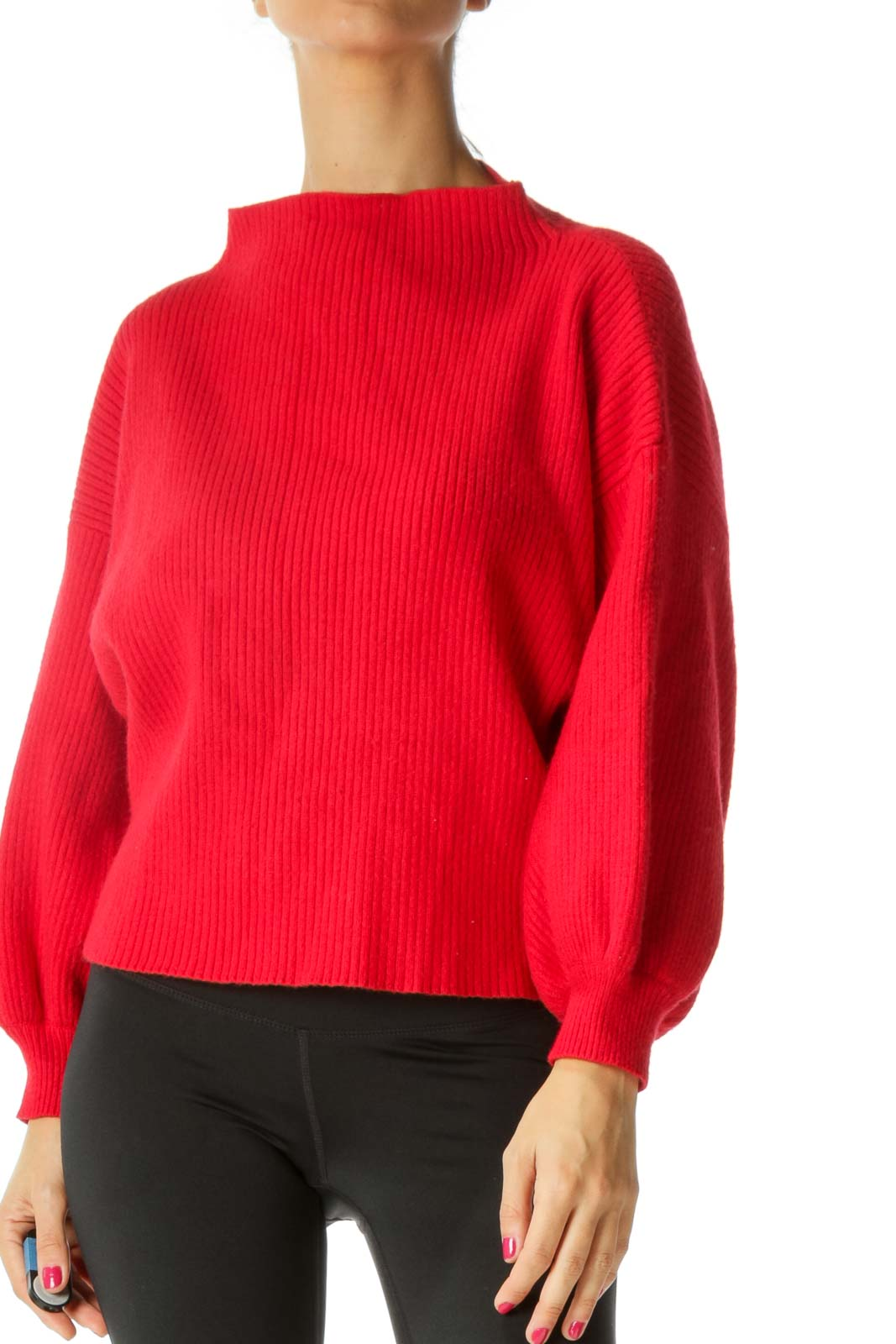 Red Mock Neck Sweater Front