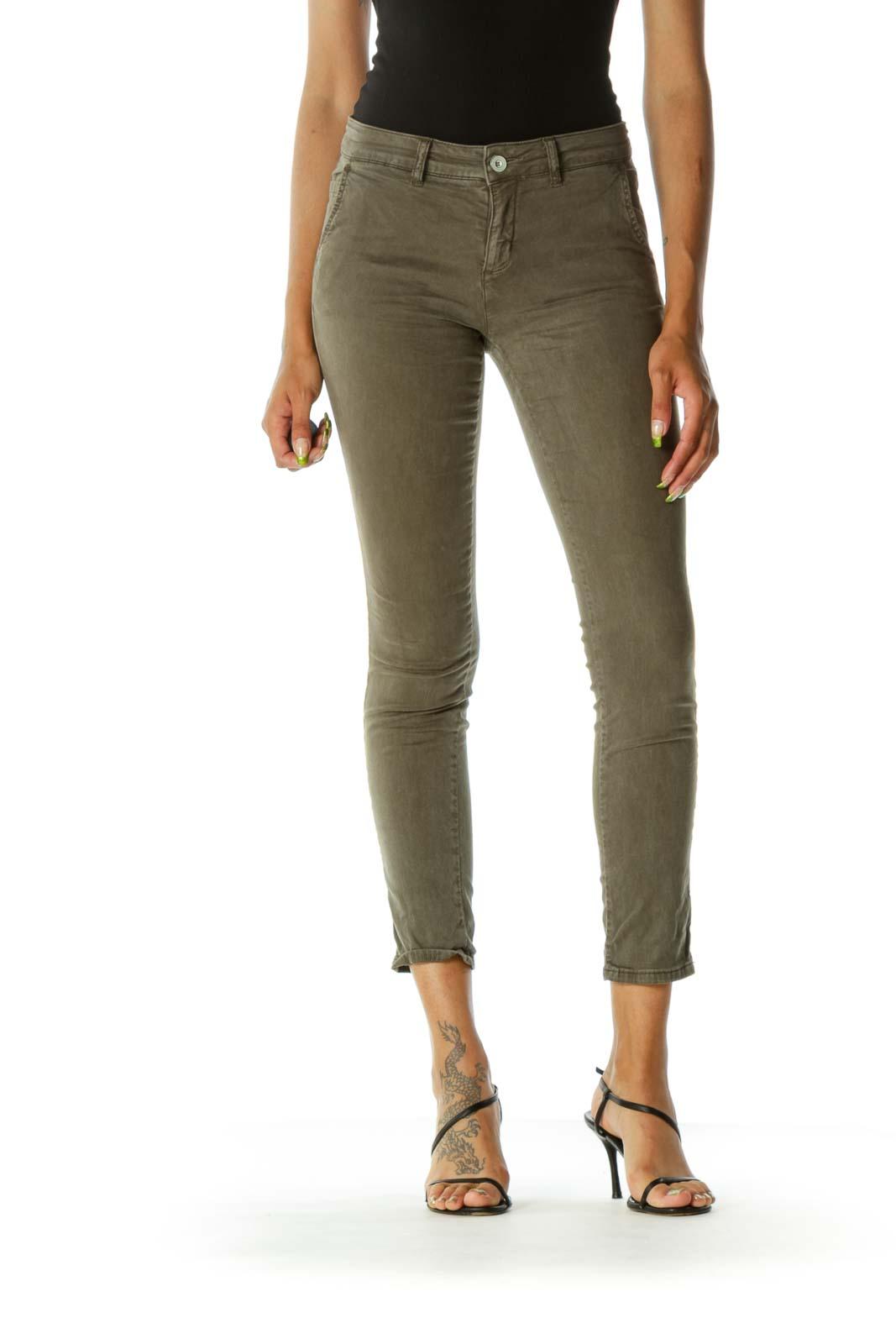 Olive Green Pocketed Slim Pants Front