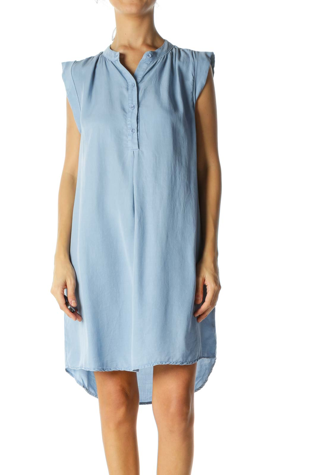 Light Blue Buttoned Sleeveless Shirt Dress Front