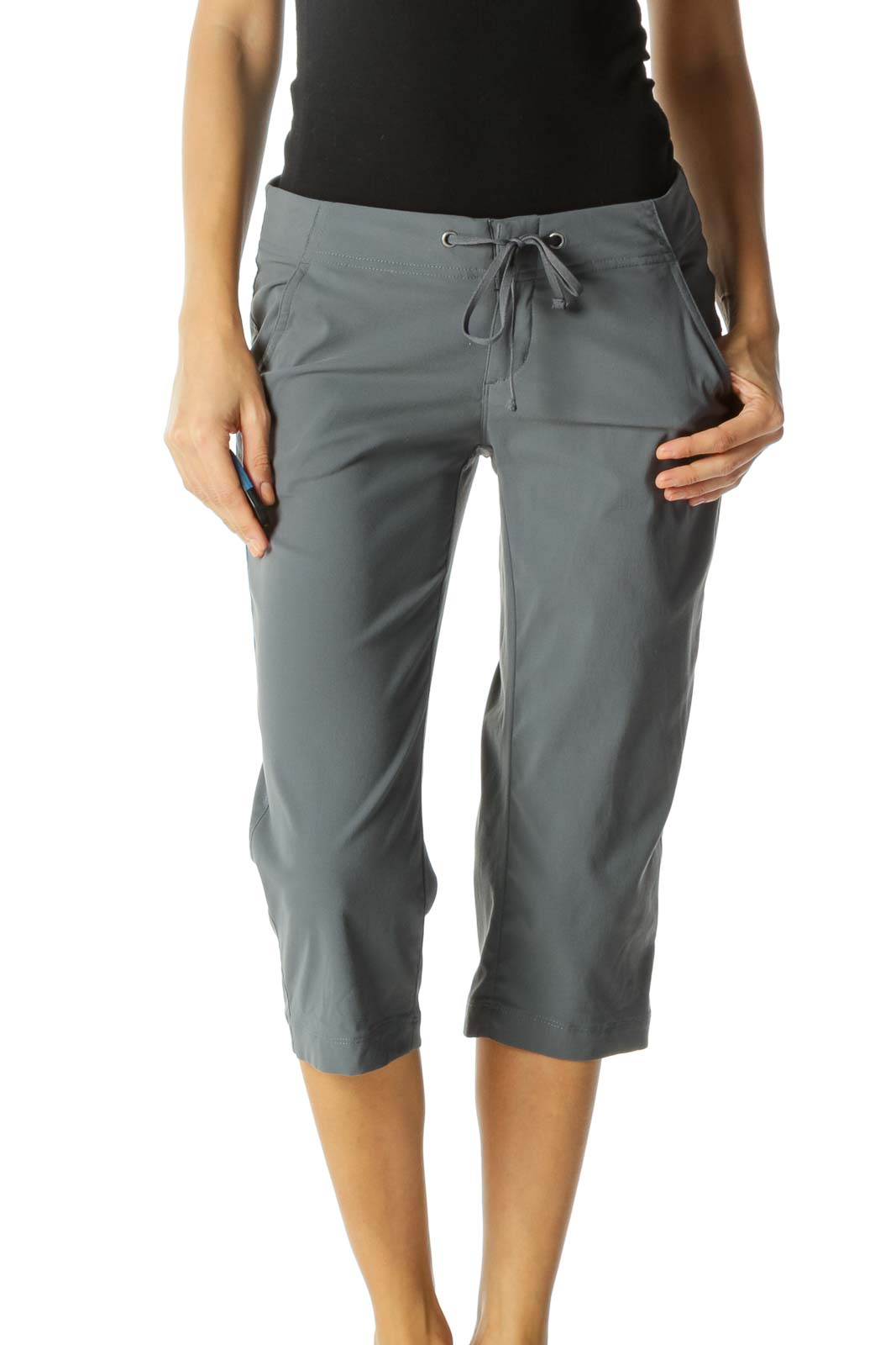 Gray Pocketed Drawstring Stretch Active Cropped Pants Front