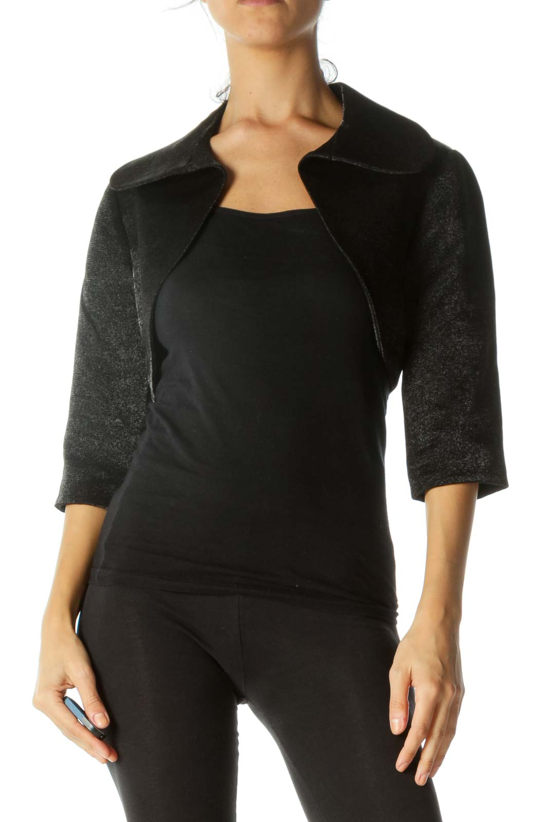 Black Shine Cropped Bolero Jacket  Front