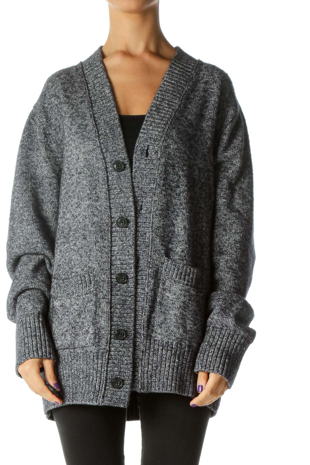Blue White Buttoned Pocketed Knit Thick Cardigan Front