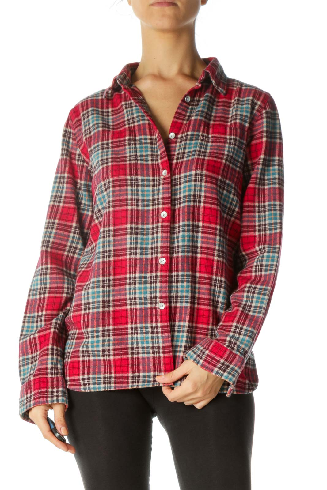 Multicolored Flannel Pocketed Buttoned Shirt Front