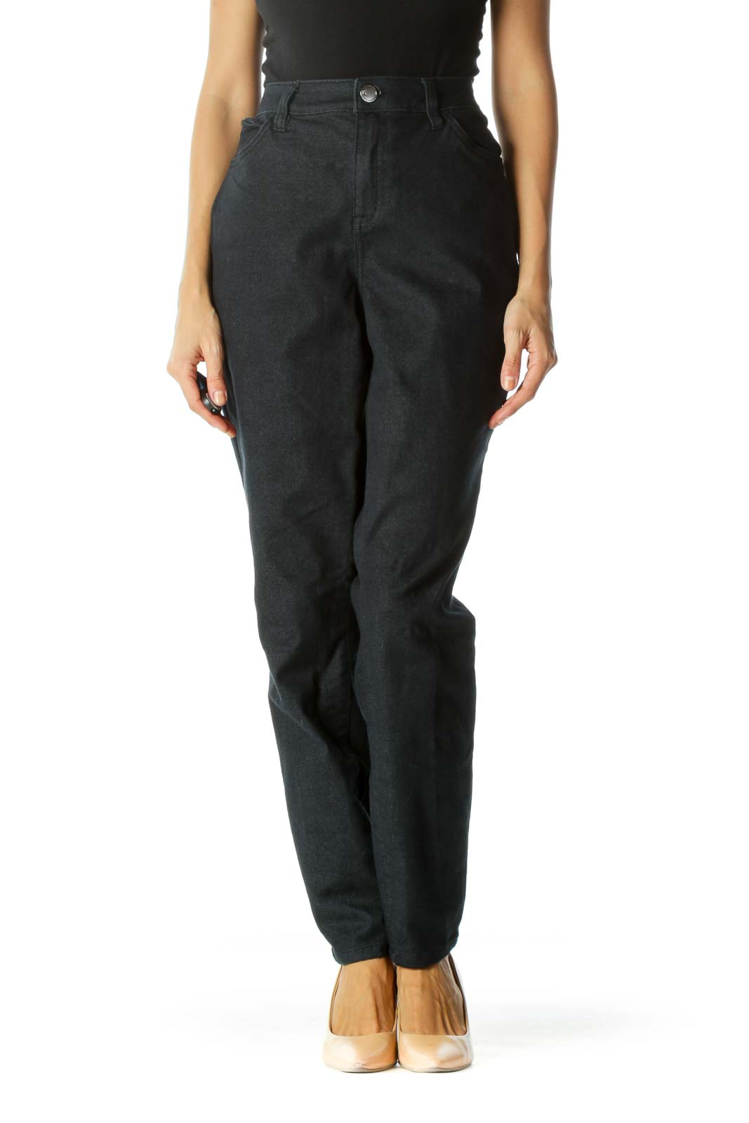 Blue Stretch Pocketed Tapered Pants Front