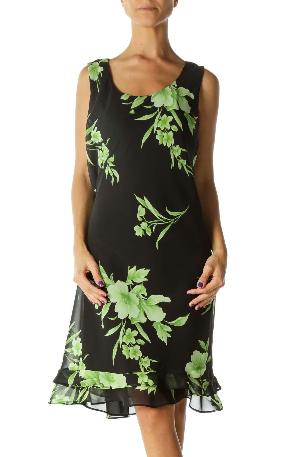 Black&Green Floral A-line Dress Front