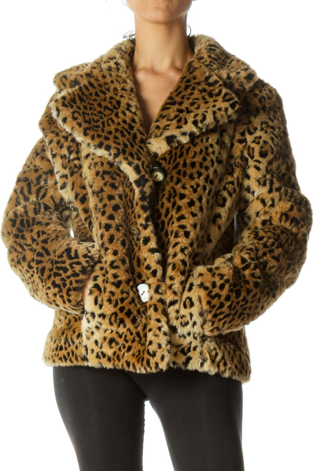 Black Beige Animal Print Padded Collared Jacket with Belt Hoops Front