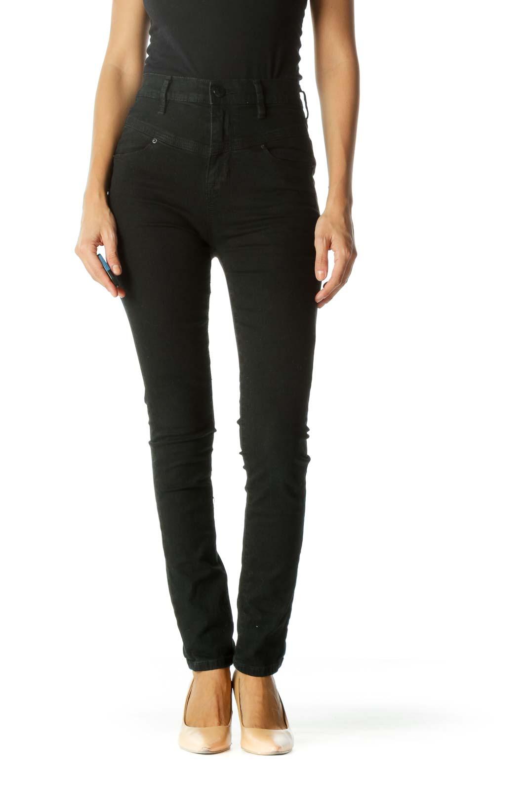 Faded Black High Waist Front Unique Design Slim Pants Front