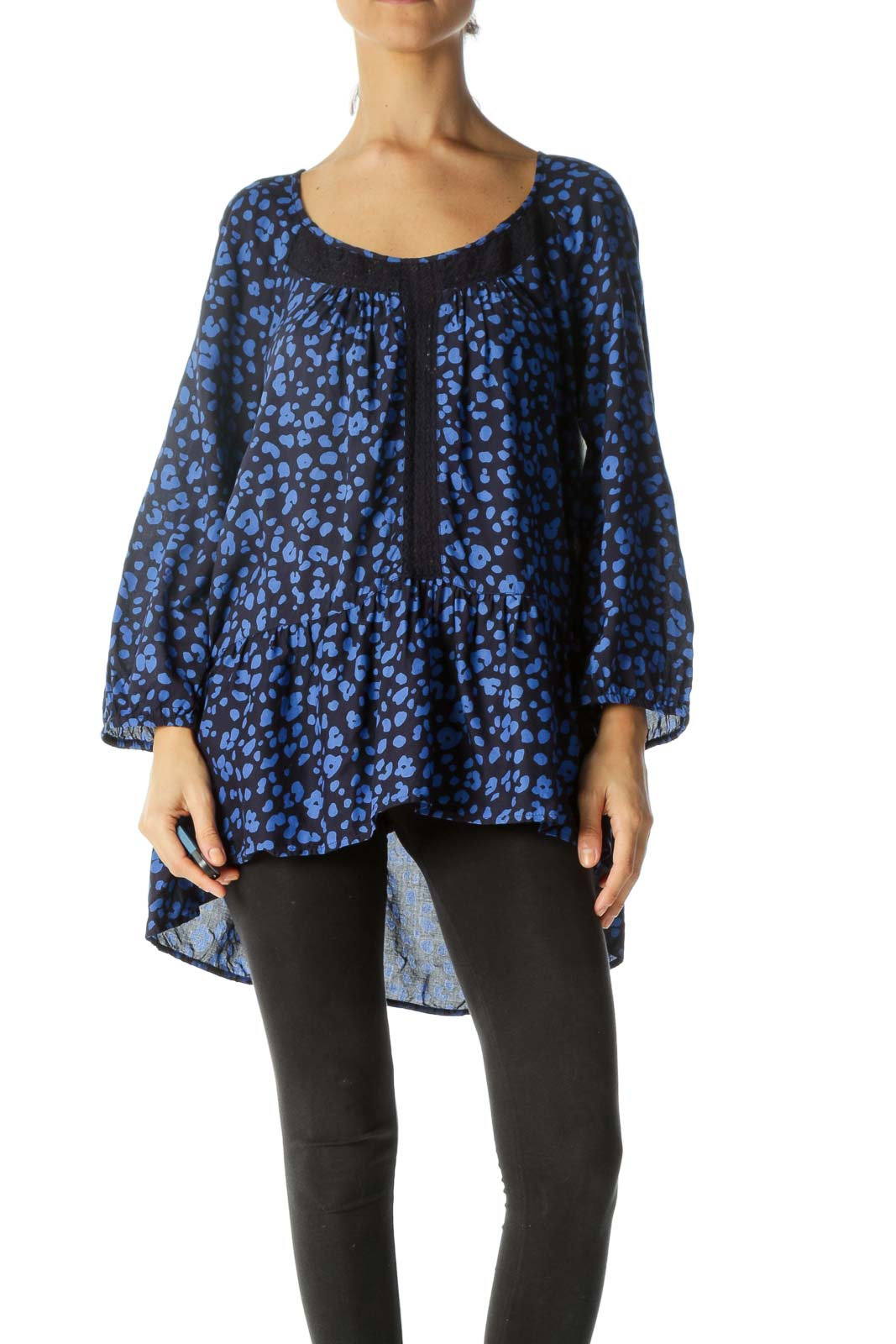 Blue & Navy Animal Print Flared Lace-Piping Long-Sleeve Blouse Front