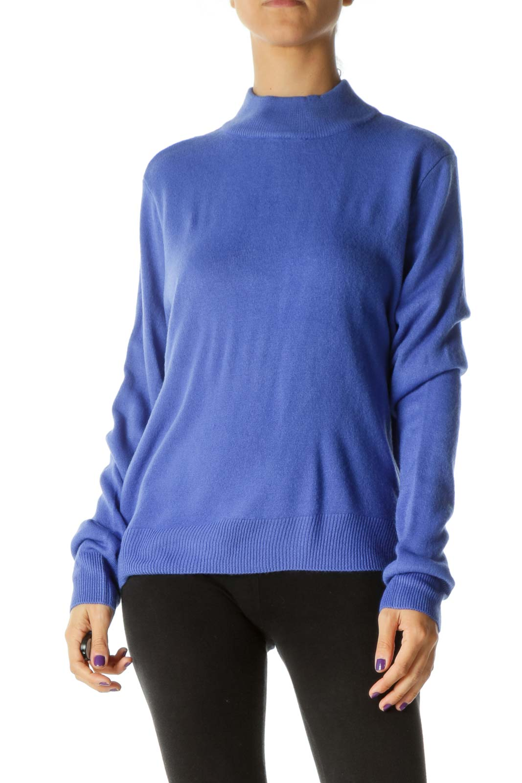 Blue Mock Neck Sweater Front