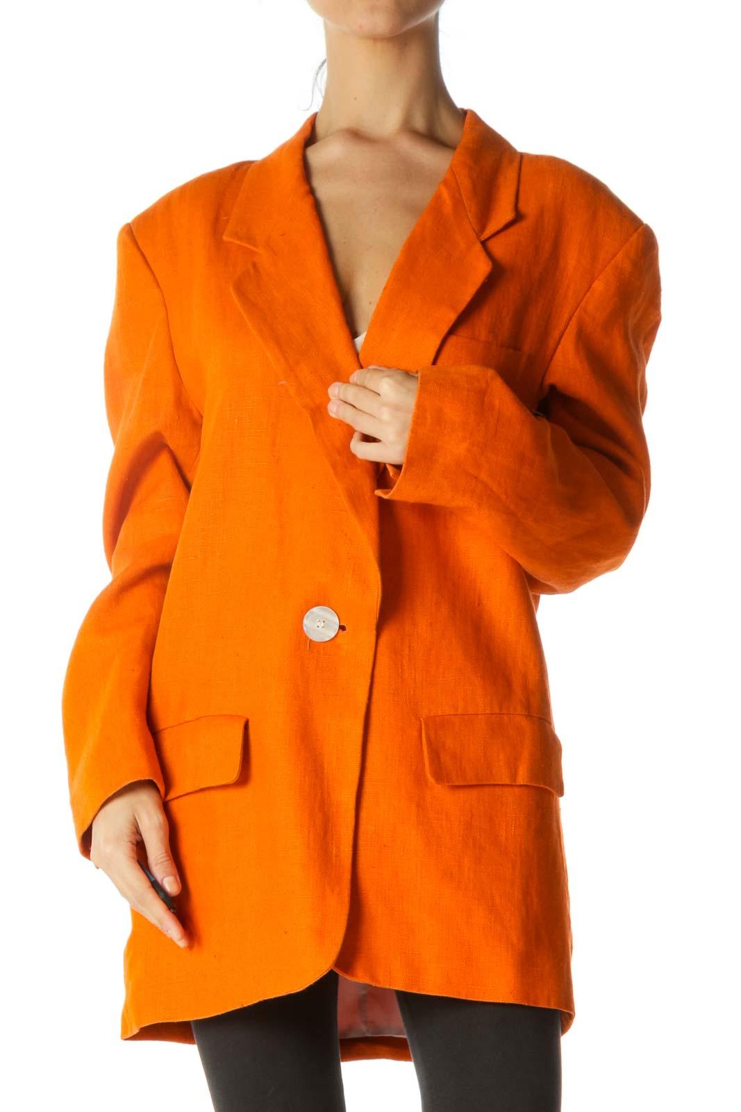 Orange Linen Padded Shoulders Lapel Pocketed Long Blazer Front