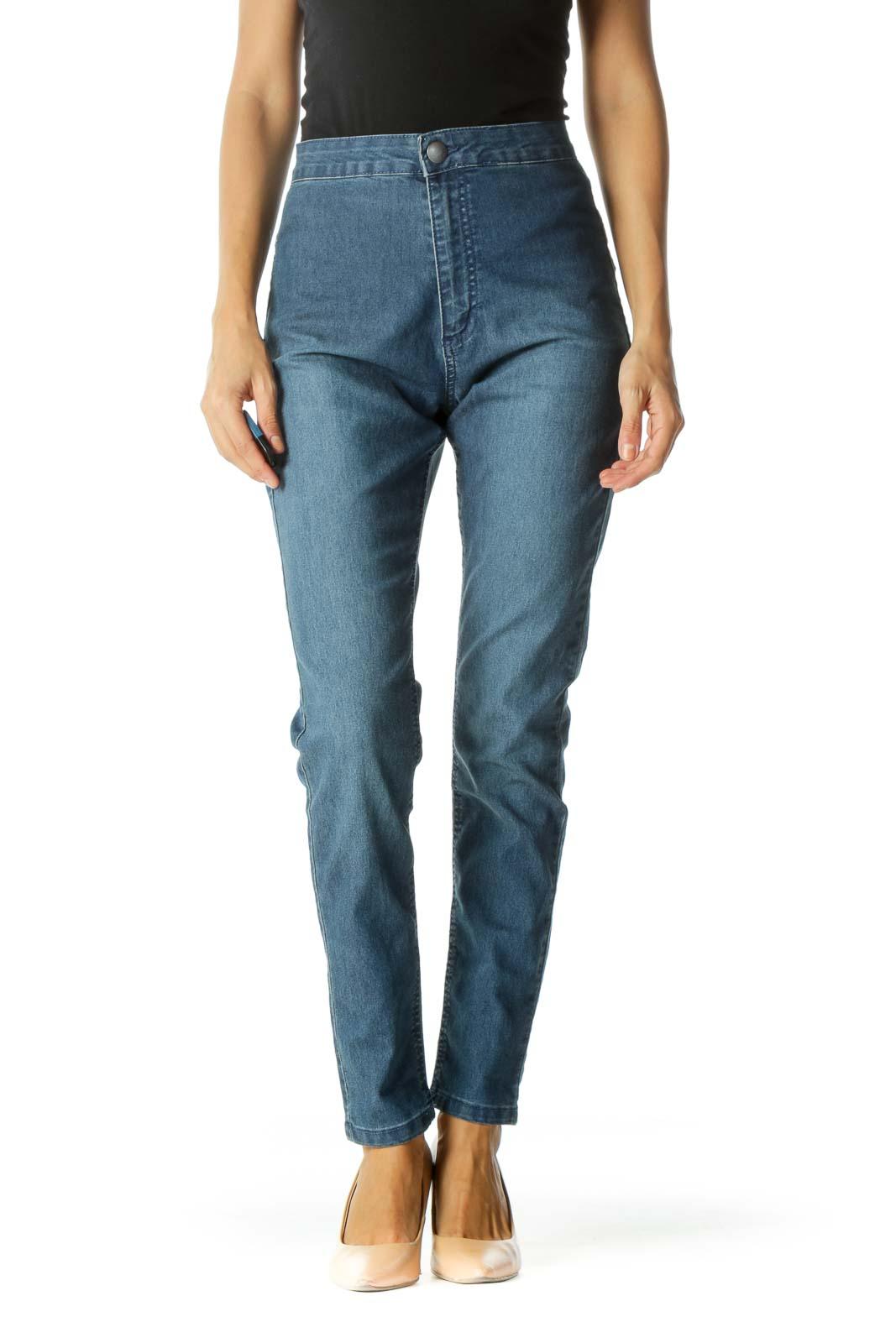 Blue Medium Wash Cinched Waist Skinny Pants Front