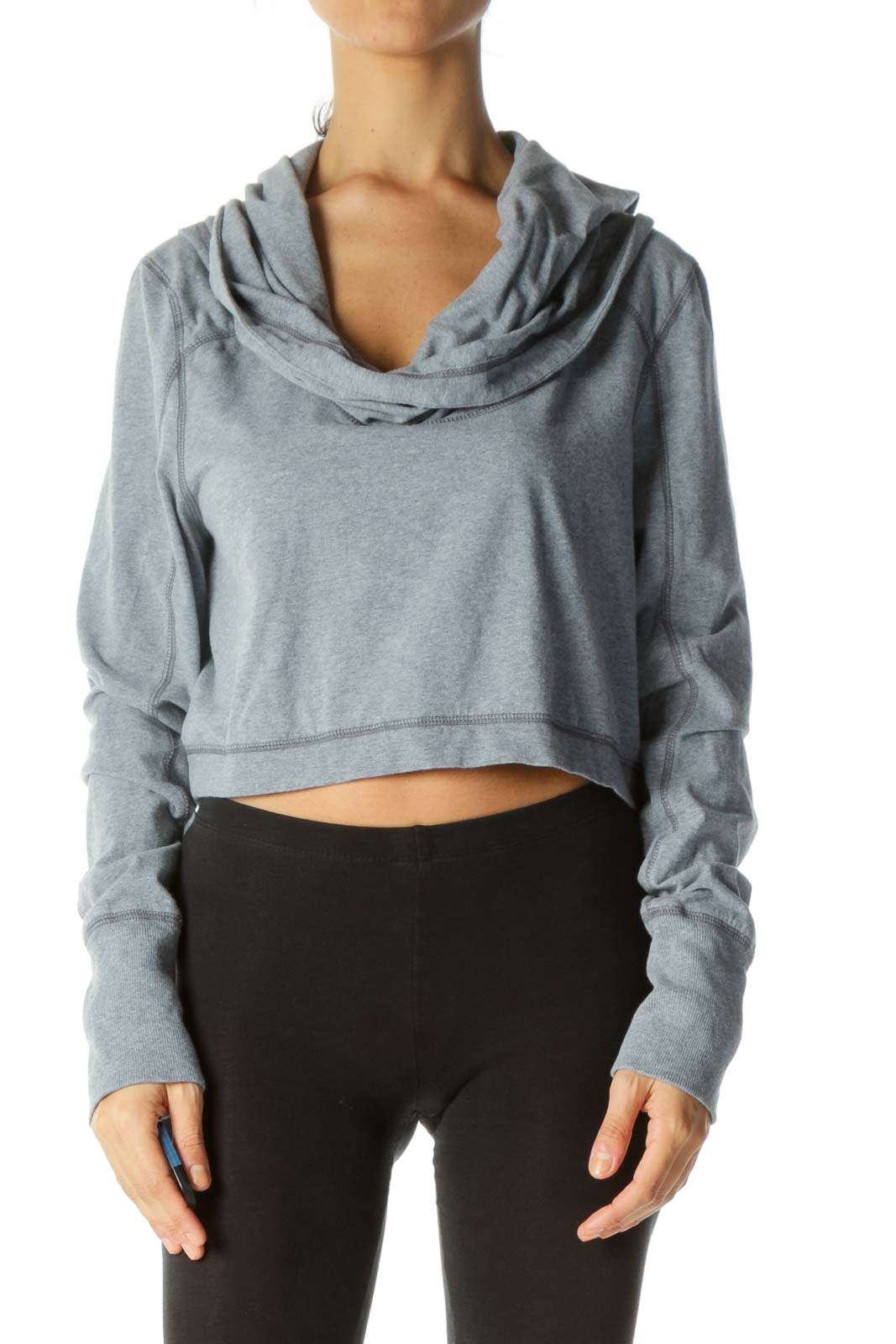 Gray Cowl Neck Stretch Soft Long Sleeve Active Top Front