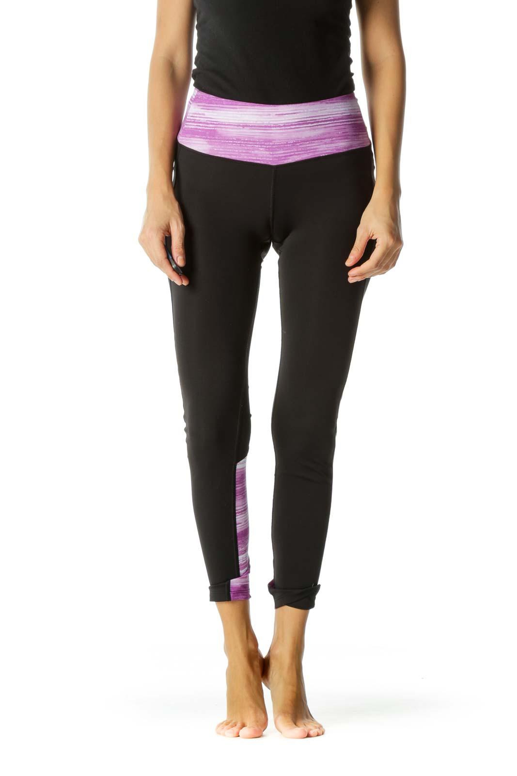Black White Purple Abstract Print Lower Leg Mesh Detail Active Leggings Front