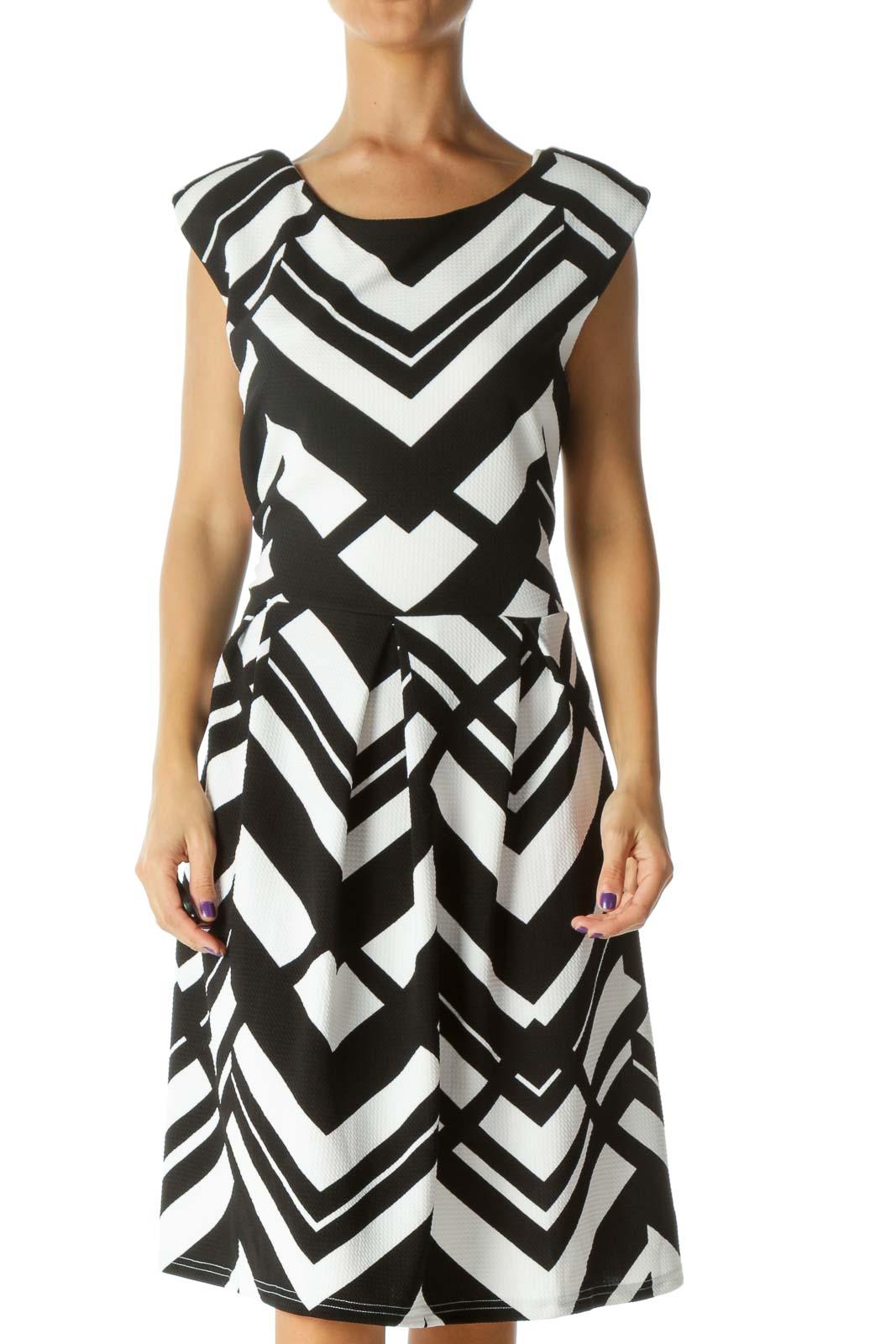 Black&White Pattern Midi Dress Front