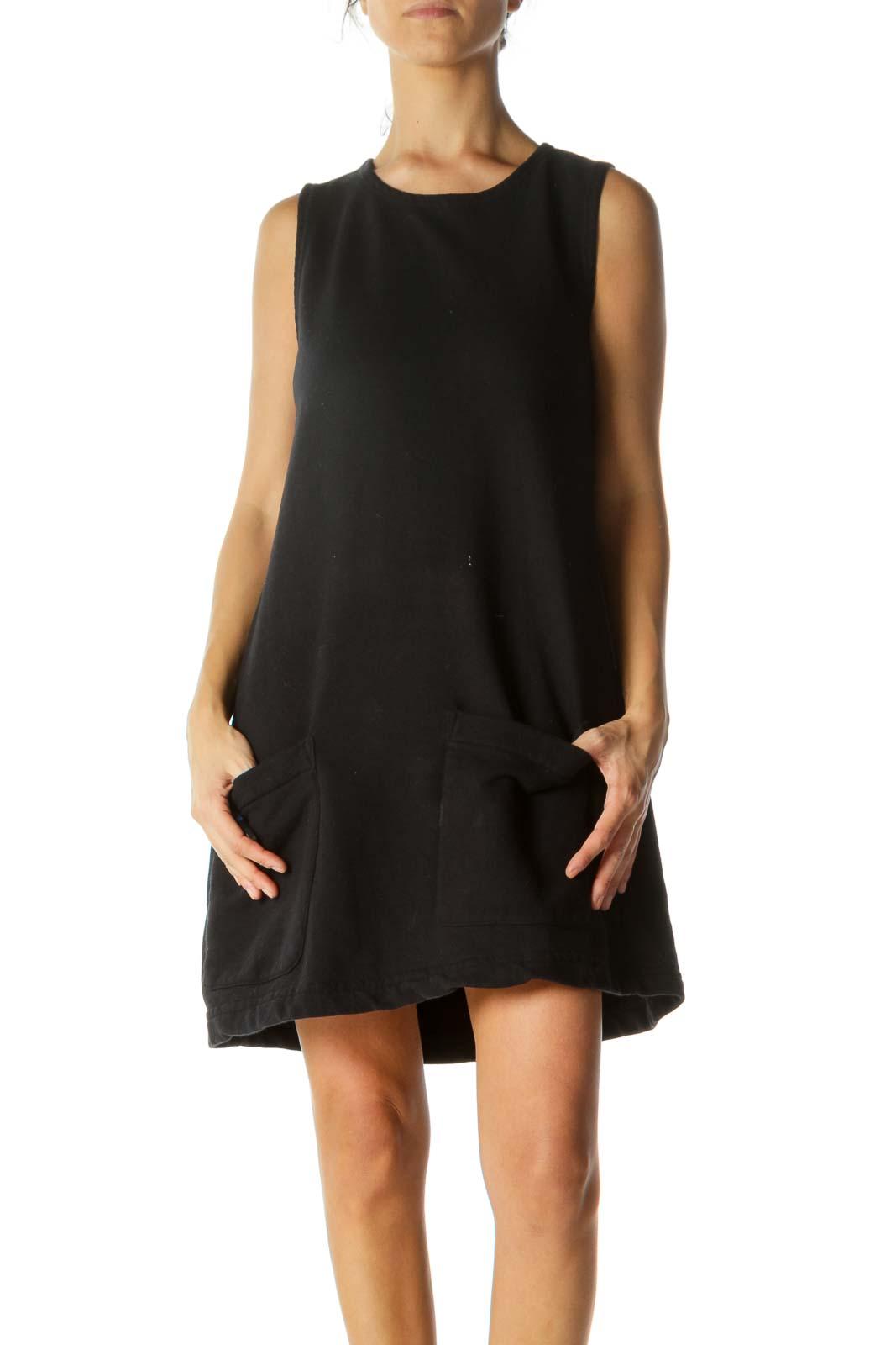 Black Cotton Pocketed Slim Dress Front