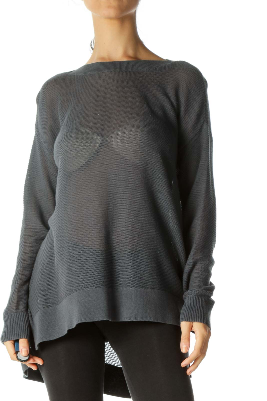 Gray Round Neck Soft See-Through Long Sleeve Knit Top Front