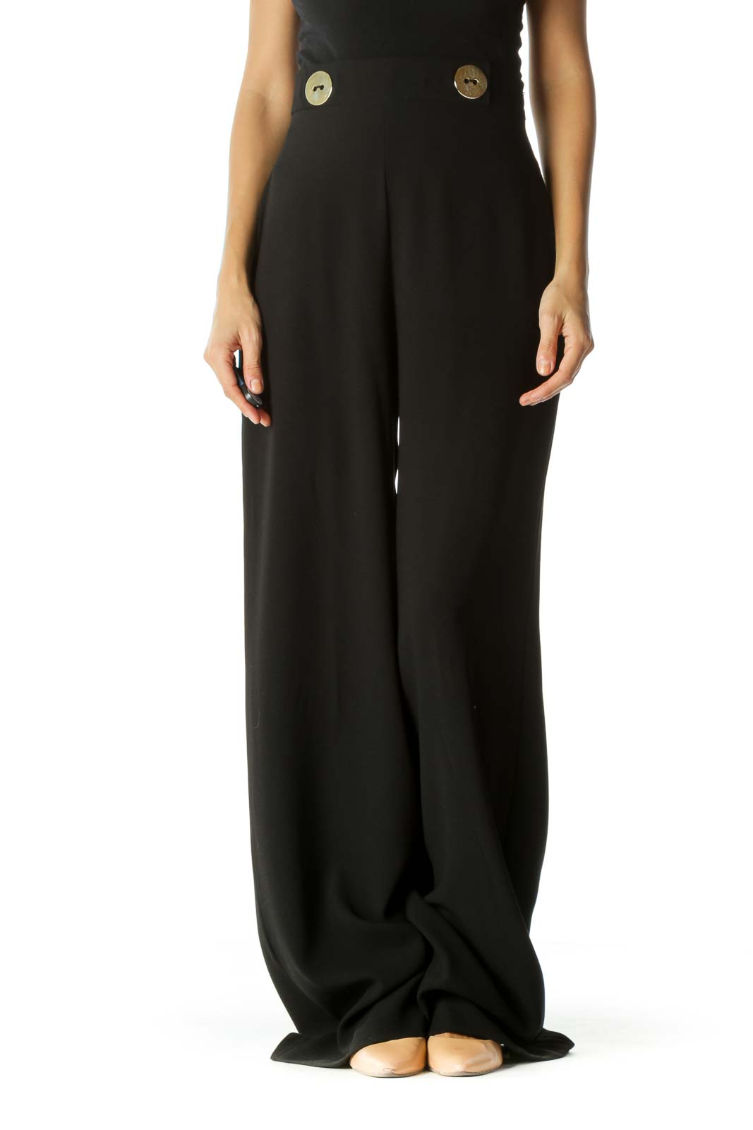 Black Gold Button Accents Wide-Leg Draped Pants Front