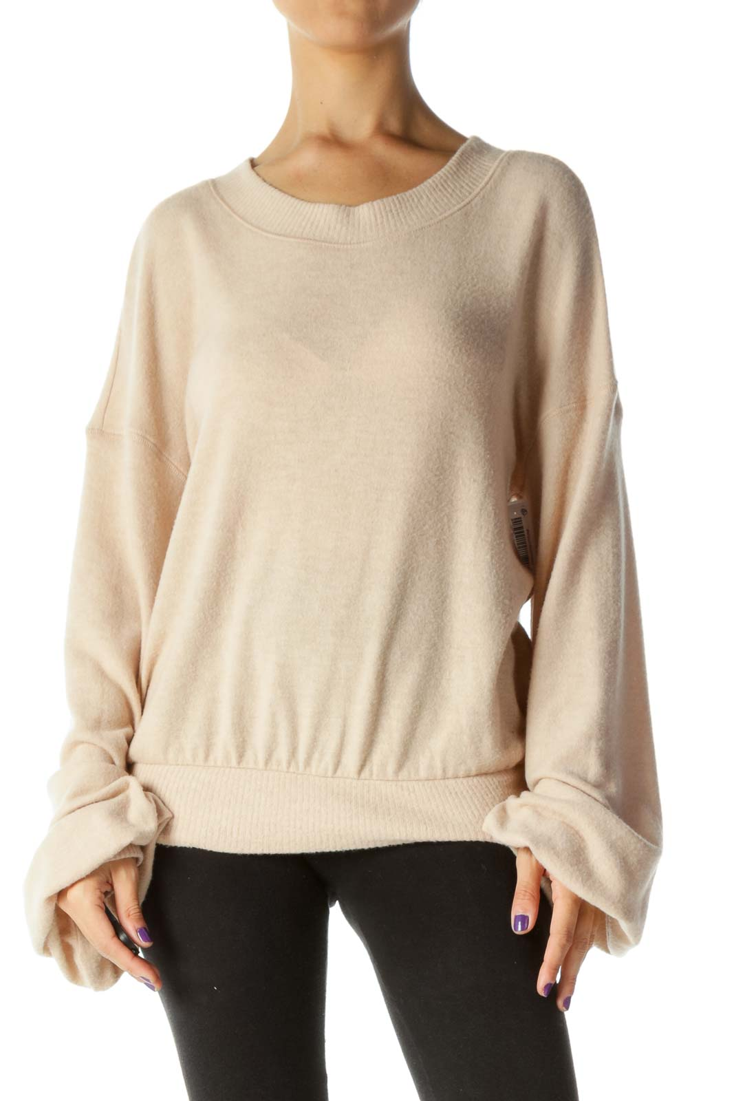 Light Peach Round Neck Super Soft Touch Bishop Sleeves Sweater Front