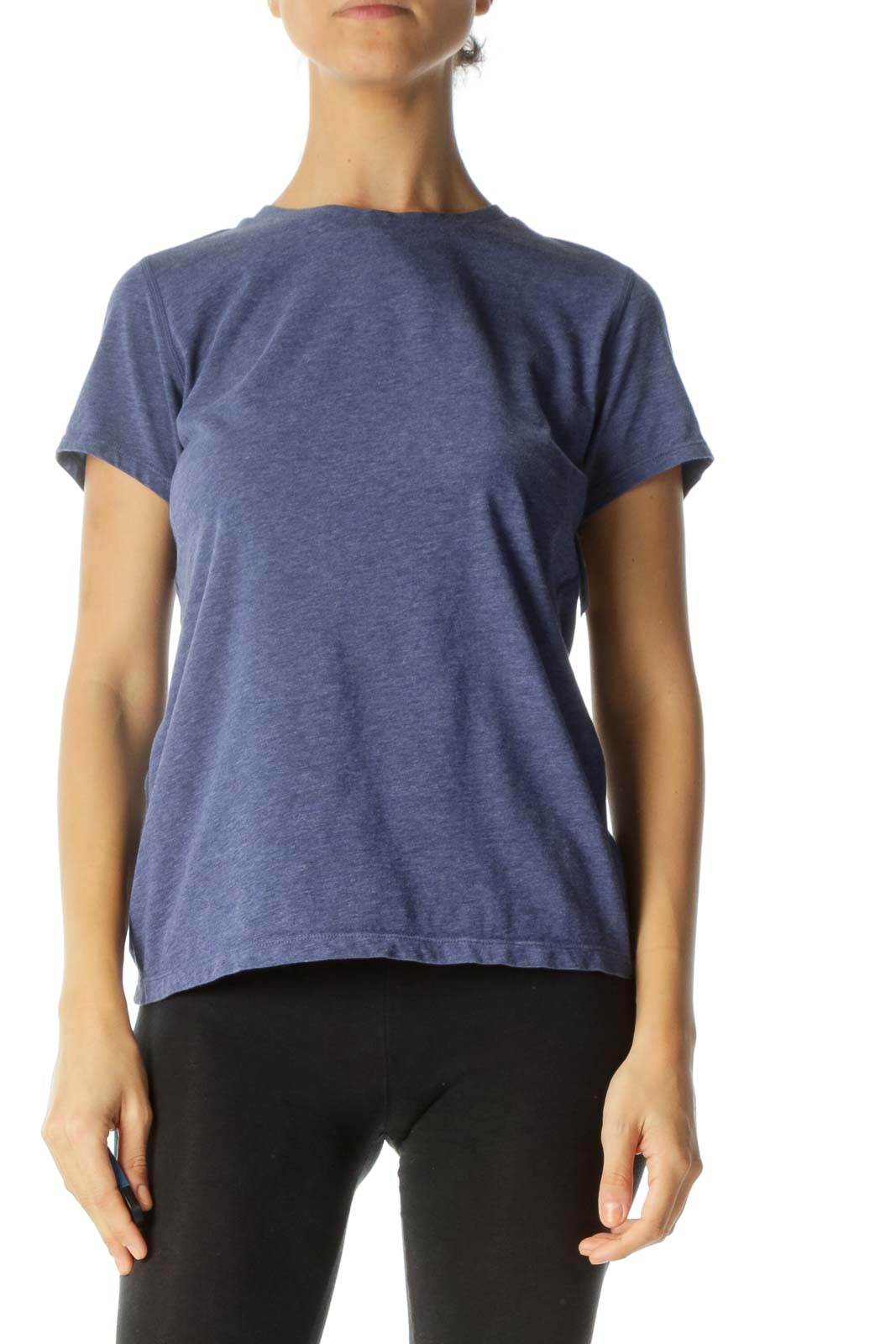 Heathered Navy Short-Sleeve Fitted Active-Wear Top Front