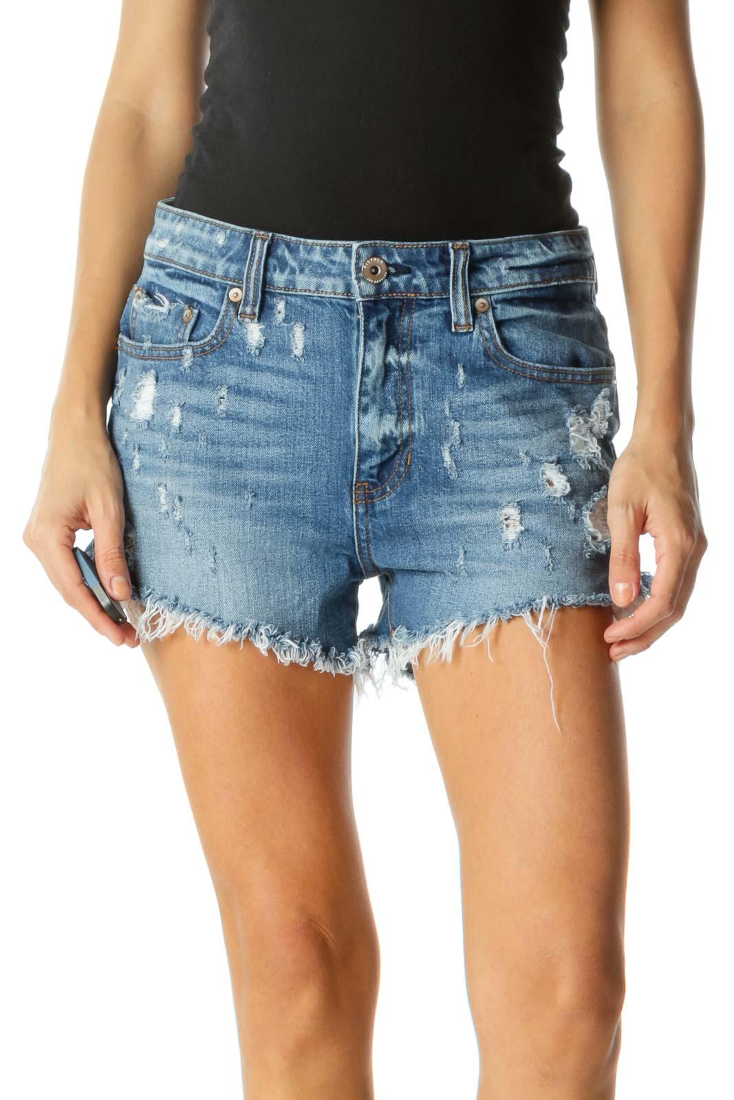 Blue Light-Wash Distressed Denim Shorts Front