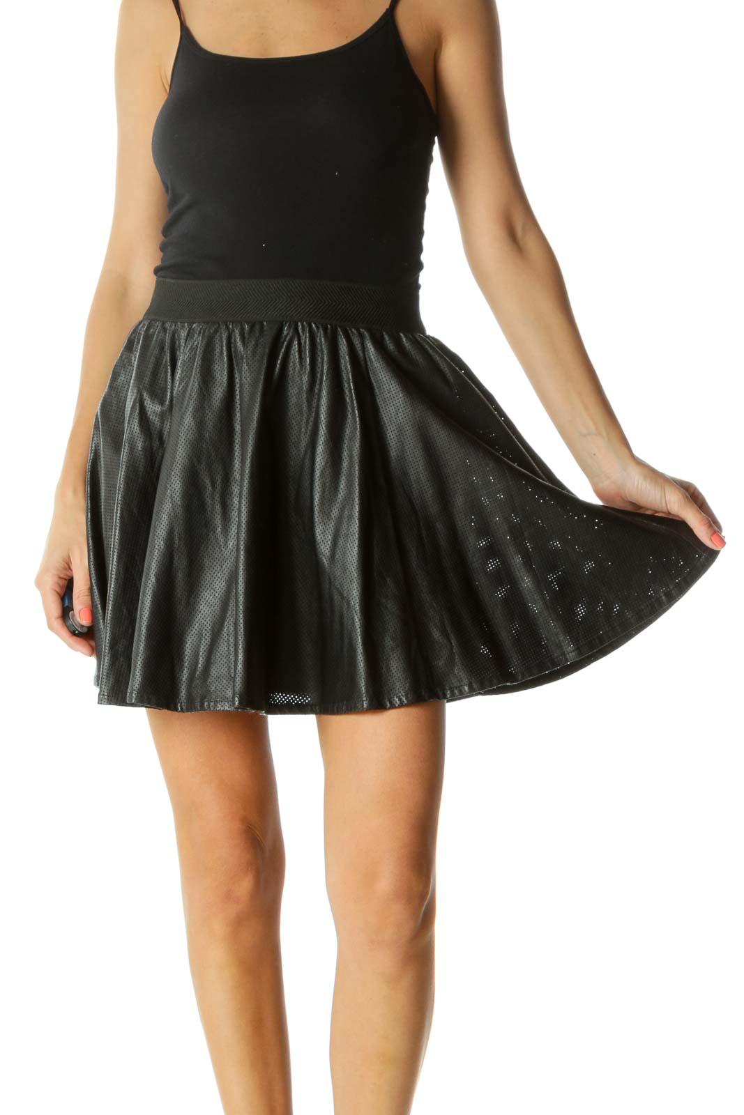 Black Mini Skirt Front