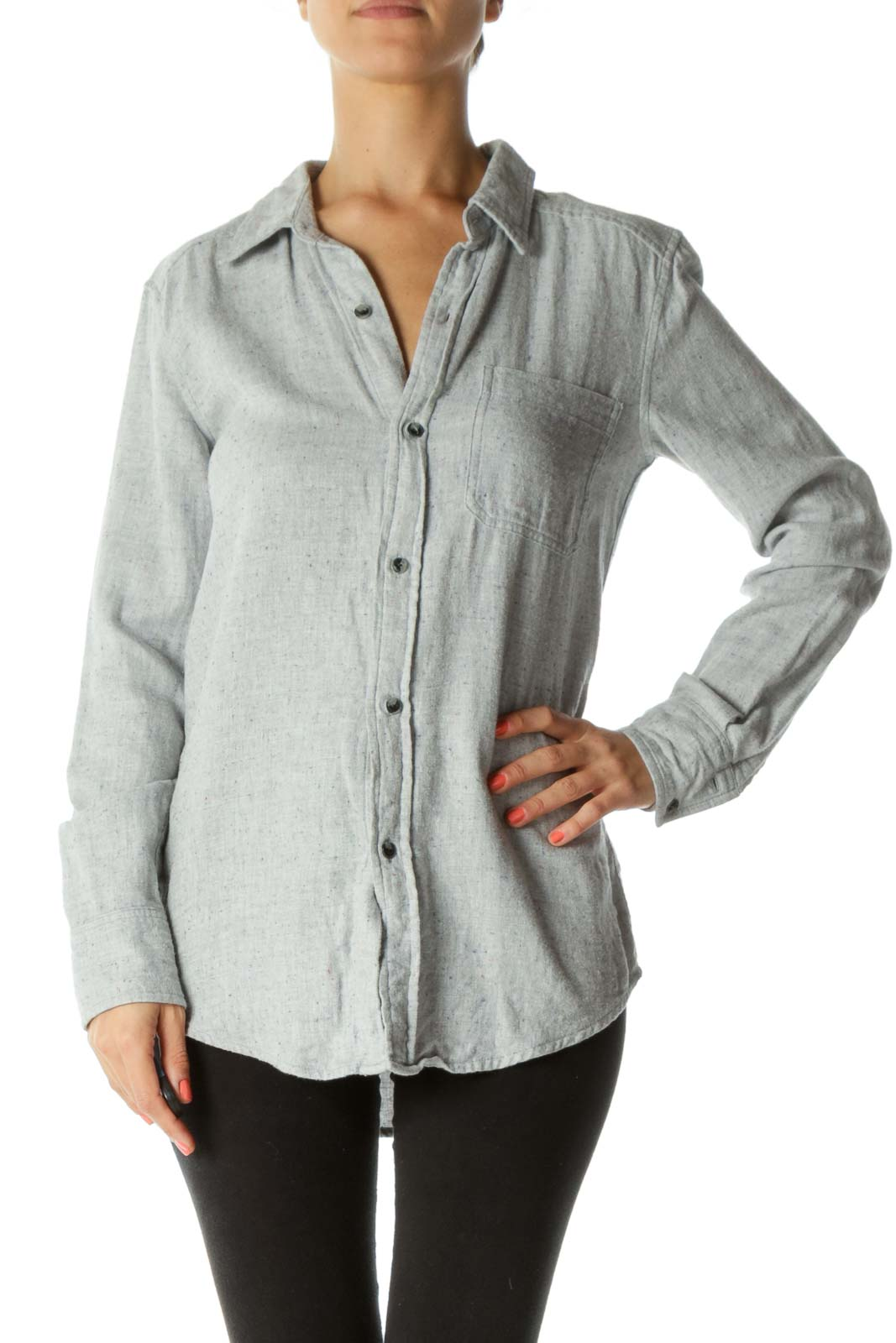 Gray Buttoned Shirt Front