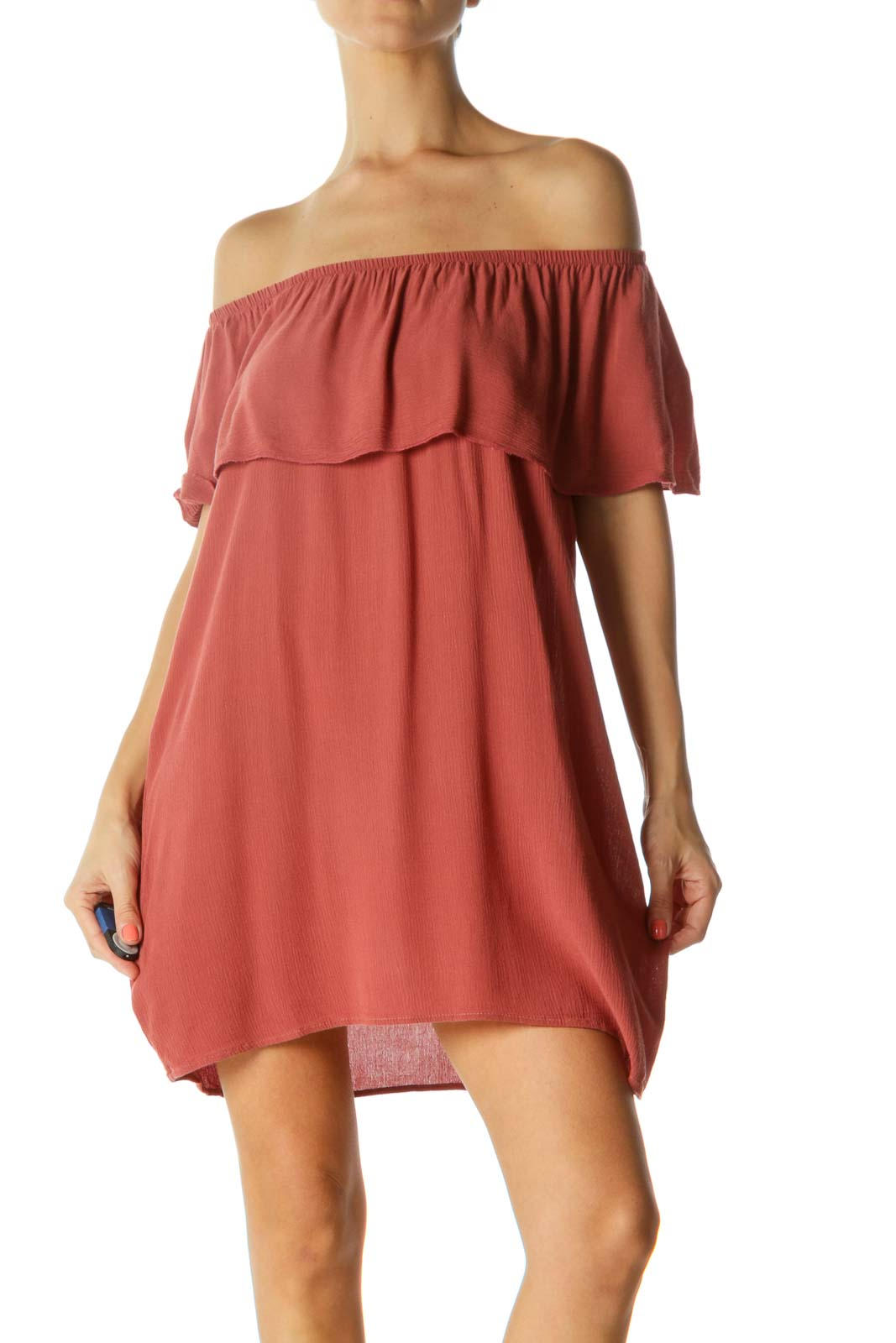 Orange Off-Shoulder Dress Front