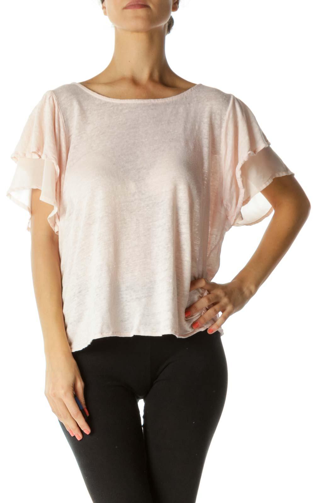 Pink Linen Scrunched Crop Top Front