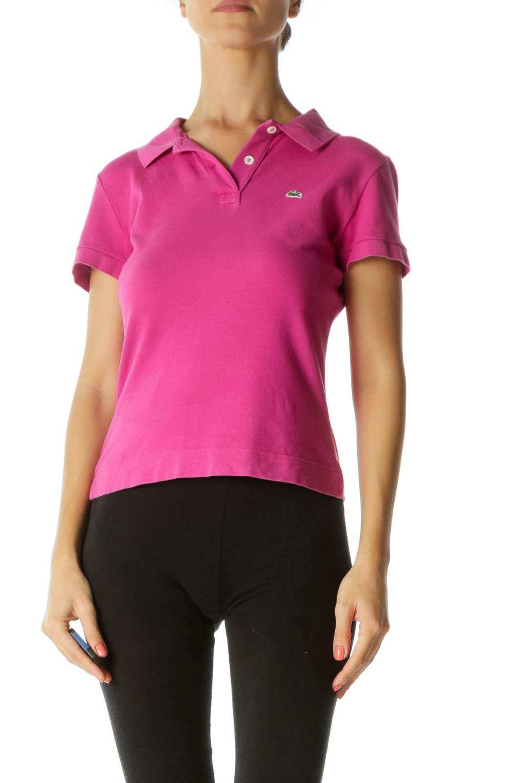 Pink Collared Polo T-Shirt Front