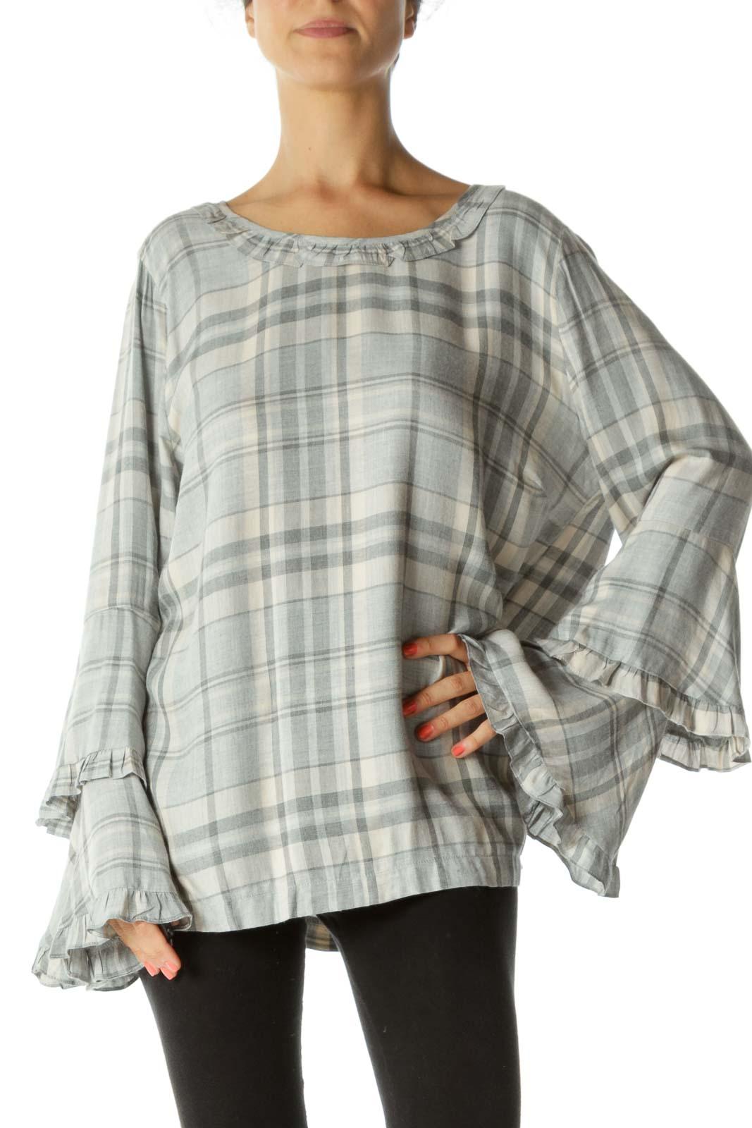 Gray Checkered Ruffled Lon Sleeve Top Front