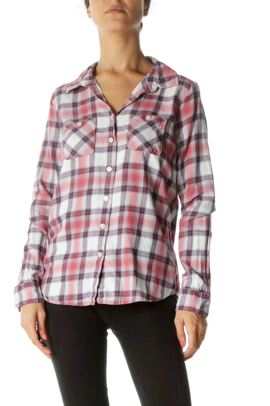 Pink Purple Plaid 100% Cotton Shirt Front