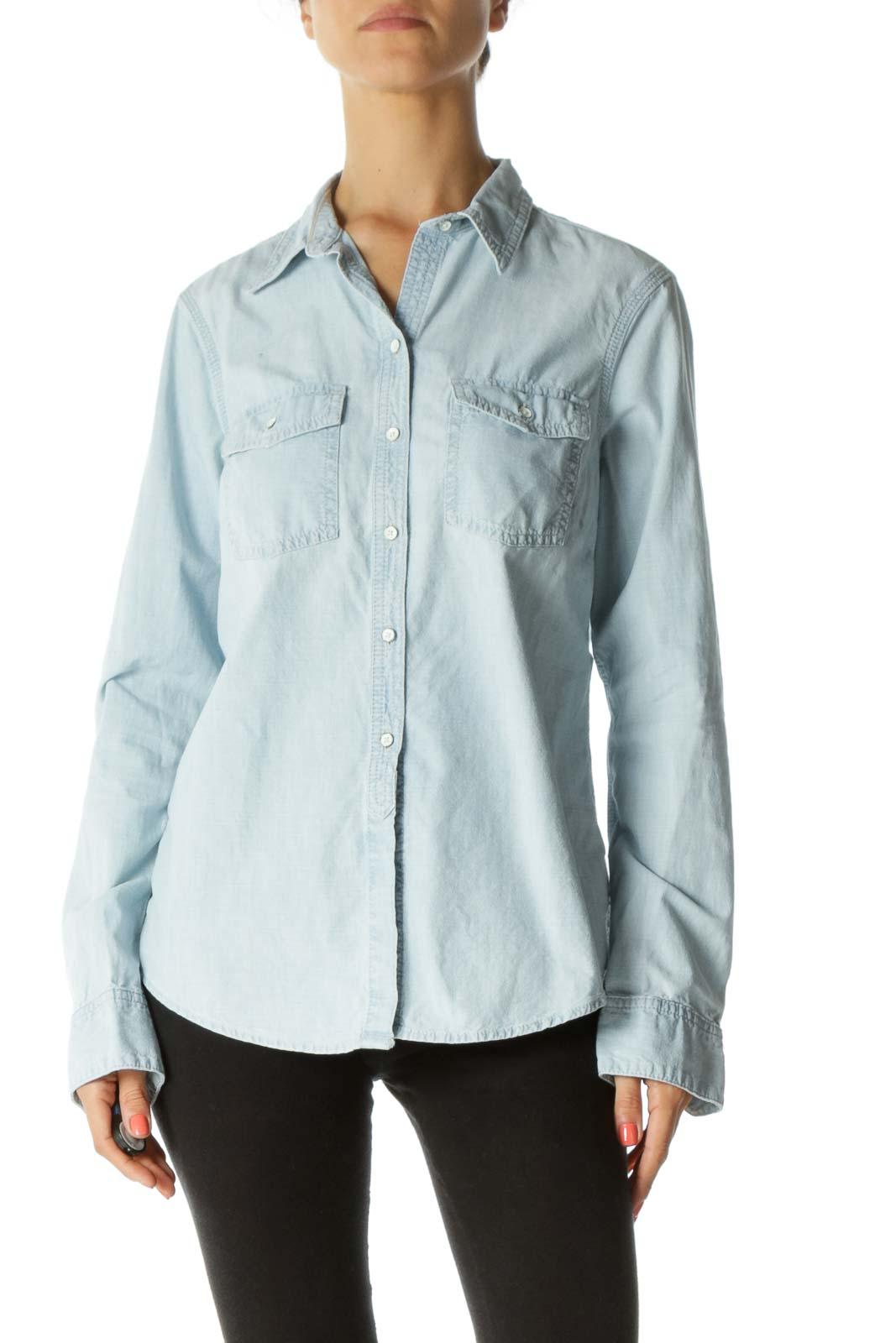 Light-Wash Blue Long Denim Shirt Front