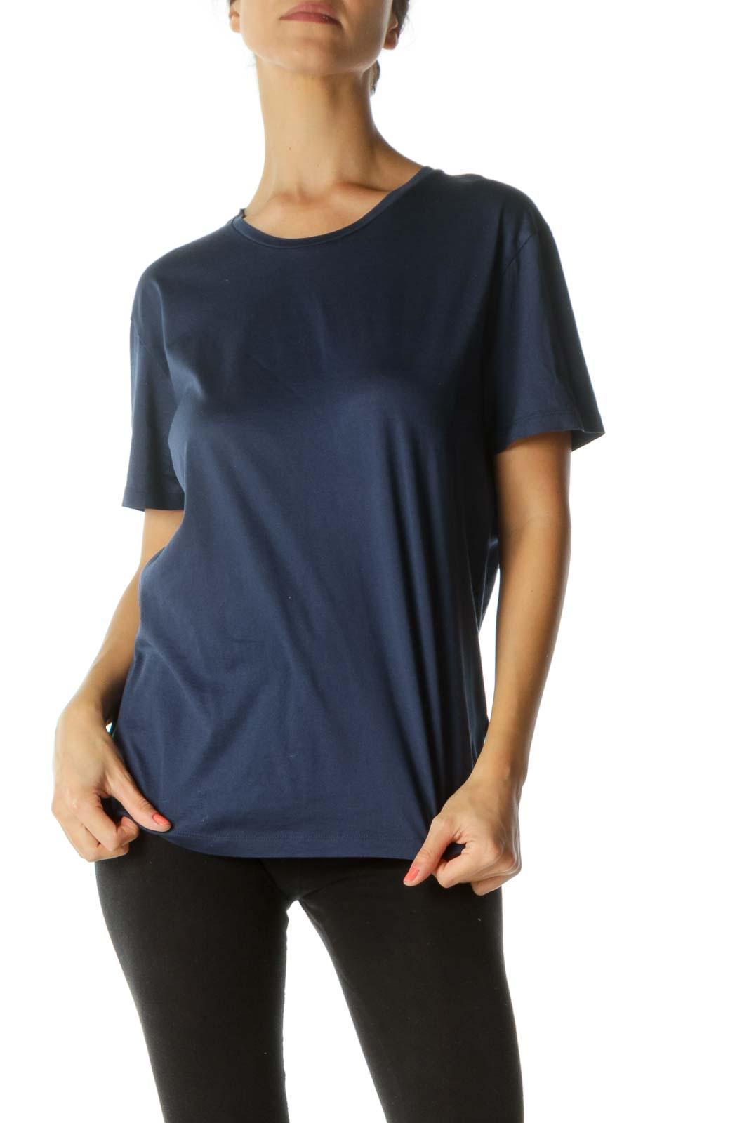 Blue 100% Cotton Round Neck Shiny T-Shirt Front