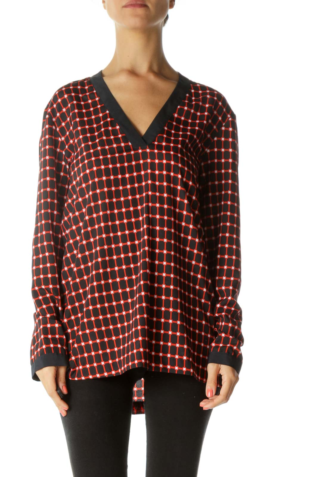 Navy and Red Printed V-Neck Blouse Front
