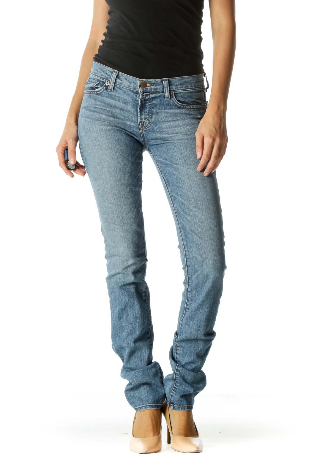 Blue Medium Wash Skinny Jeans Front