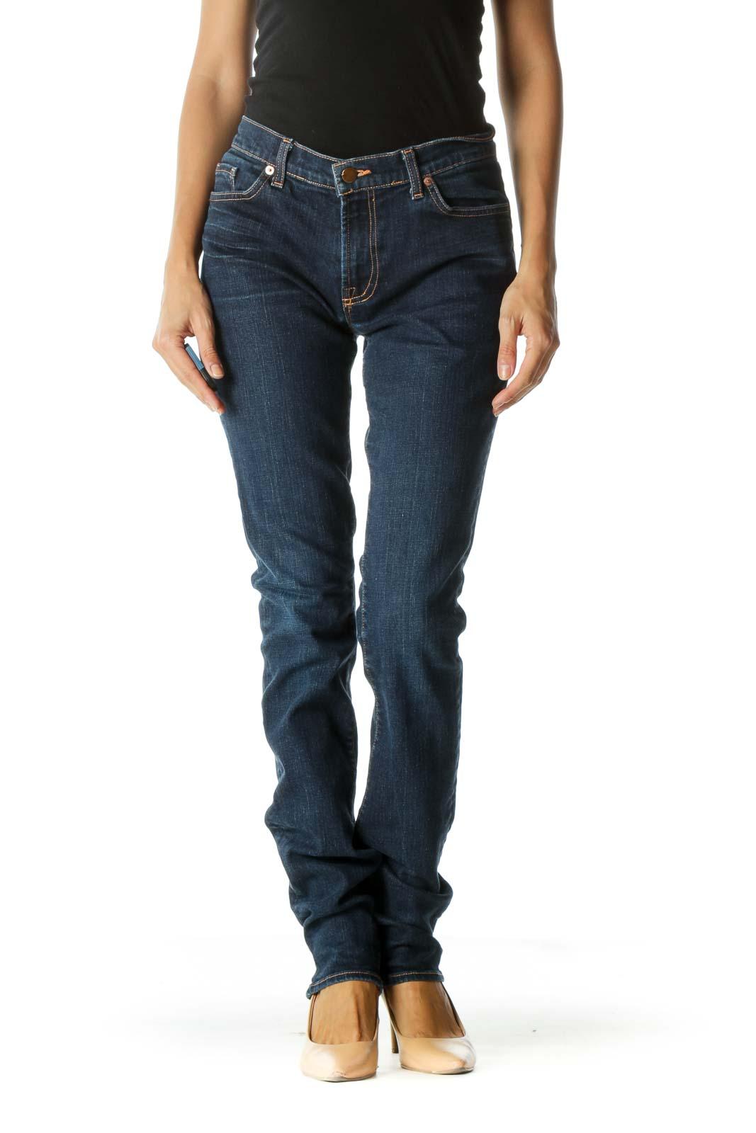 Blue Dark Wash Straight Leg Jeans Front