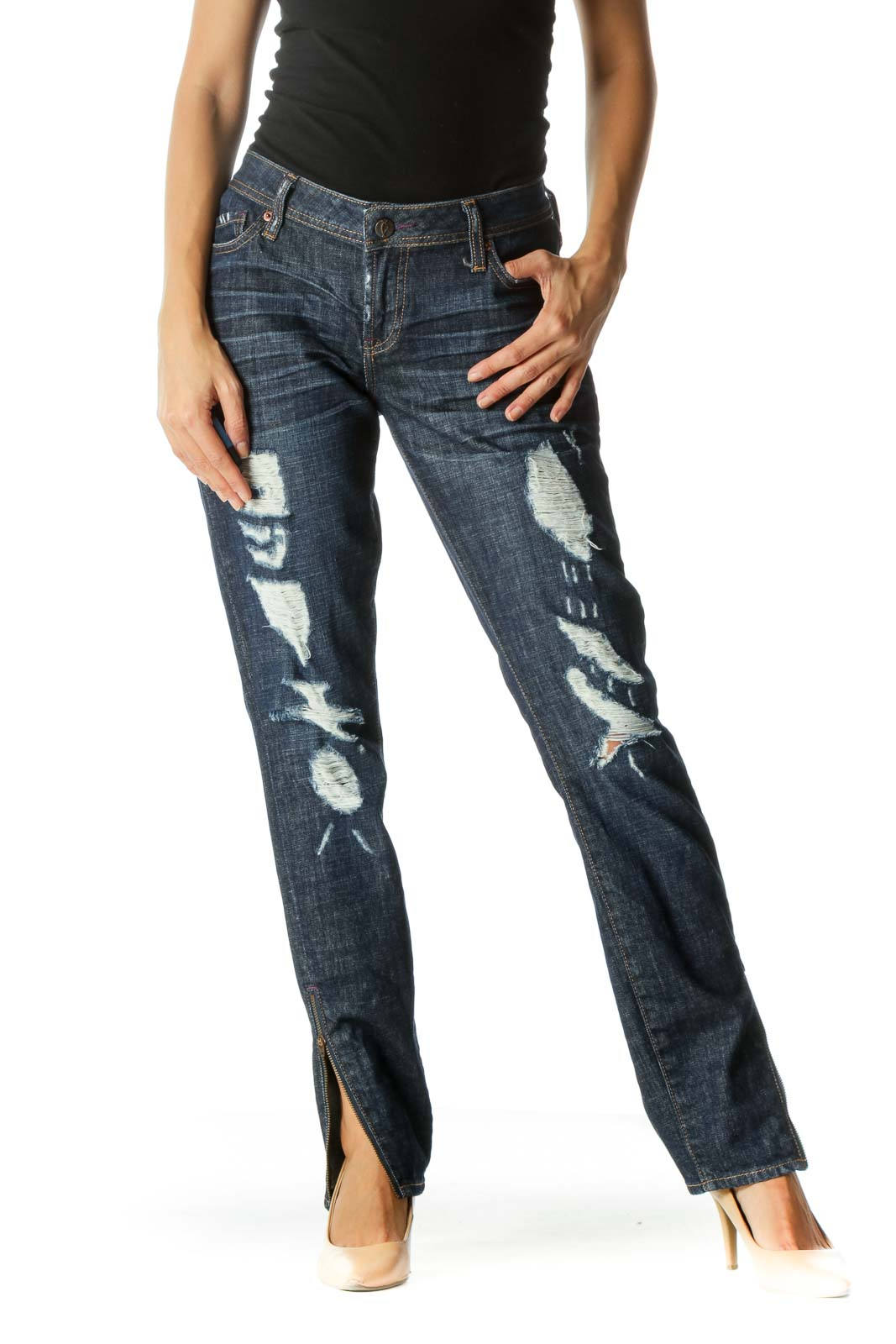 Blue Dark Wash Distressed Jeans Front