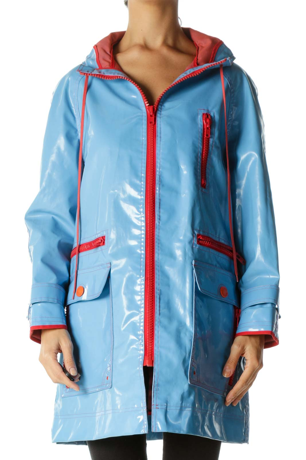 Blue Orange-Red Multi-Zippers Hooded Drawstring Weighted Rain Coat Front