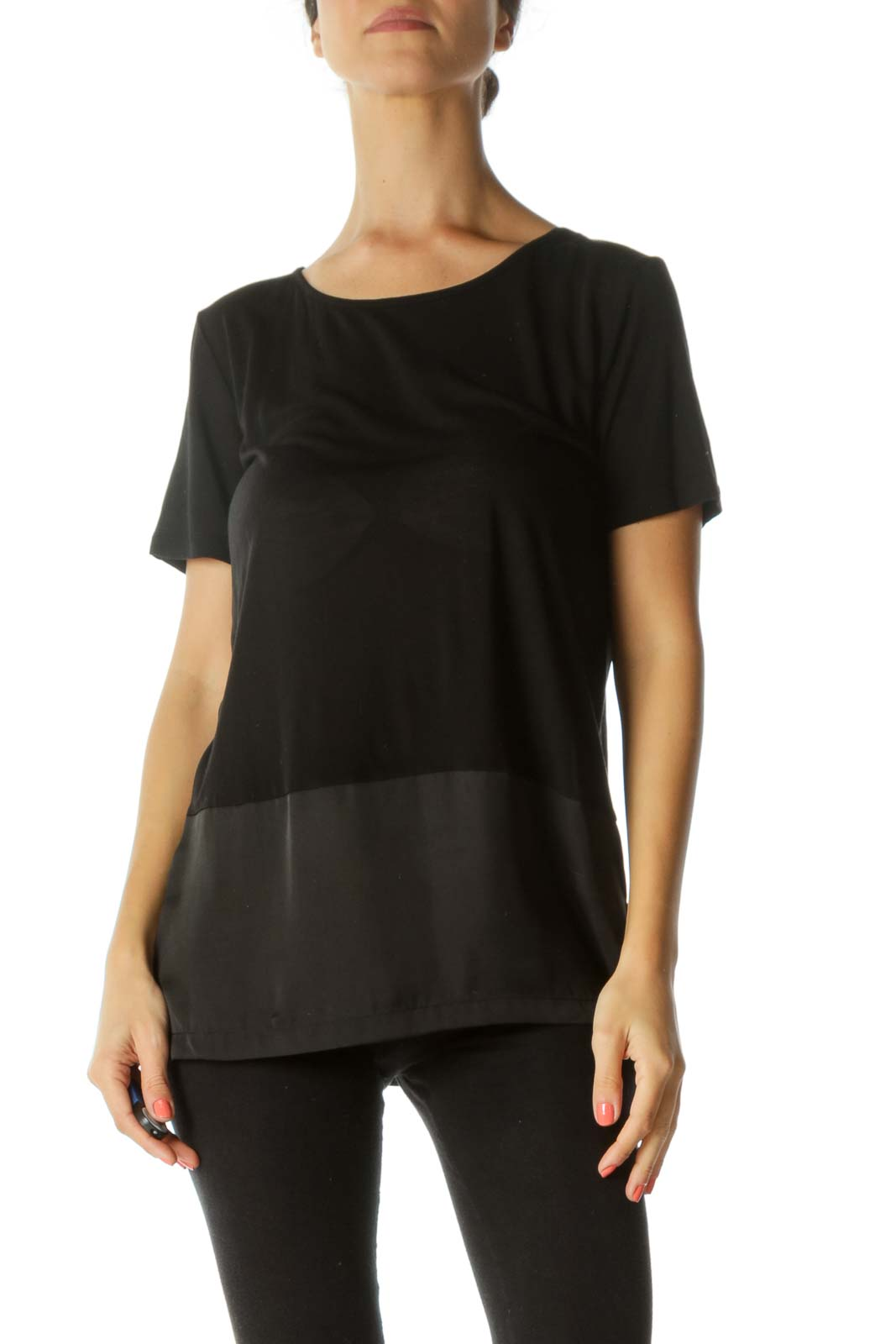 Black Round Neck Mixed-Media Stretch Short-Sleeve Top Front